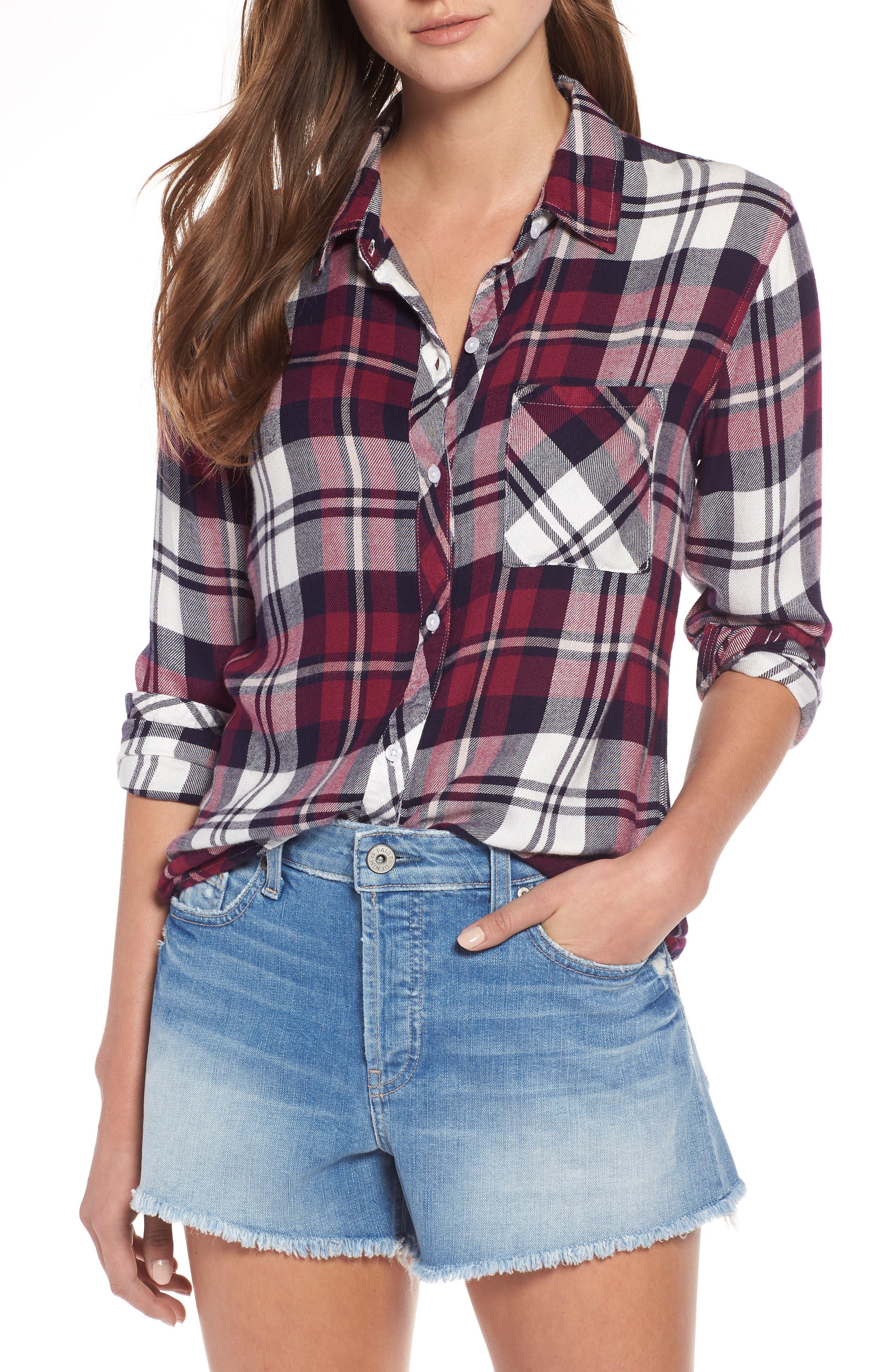 RAILS Hunter Plaid Button-Front Long-Sleeve Shirt in Fuchsia
