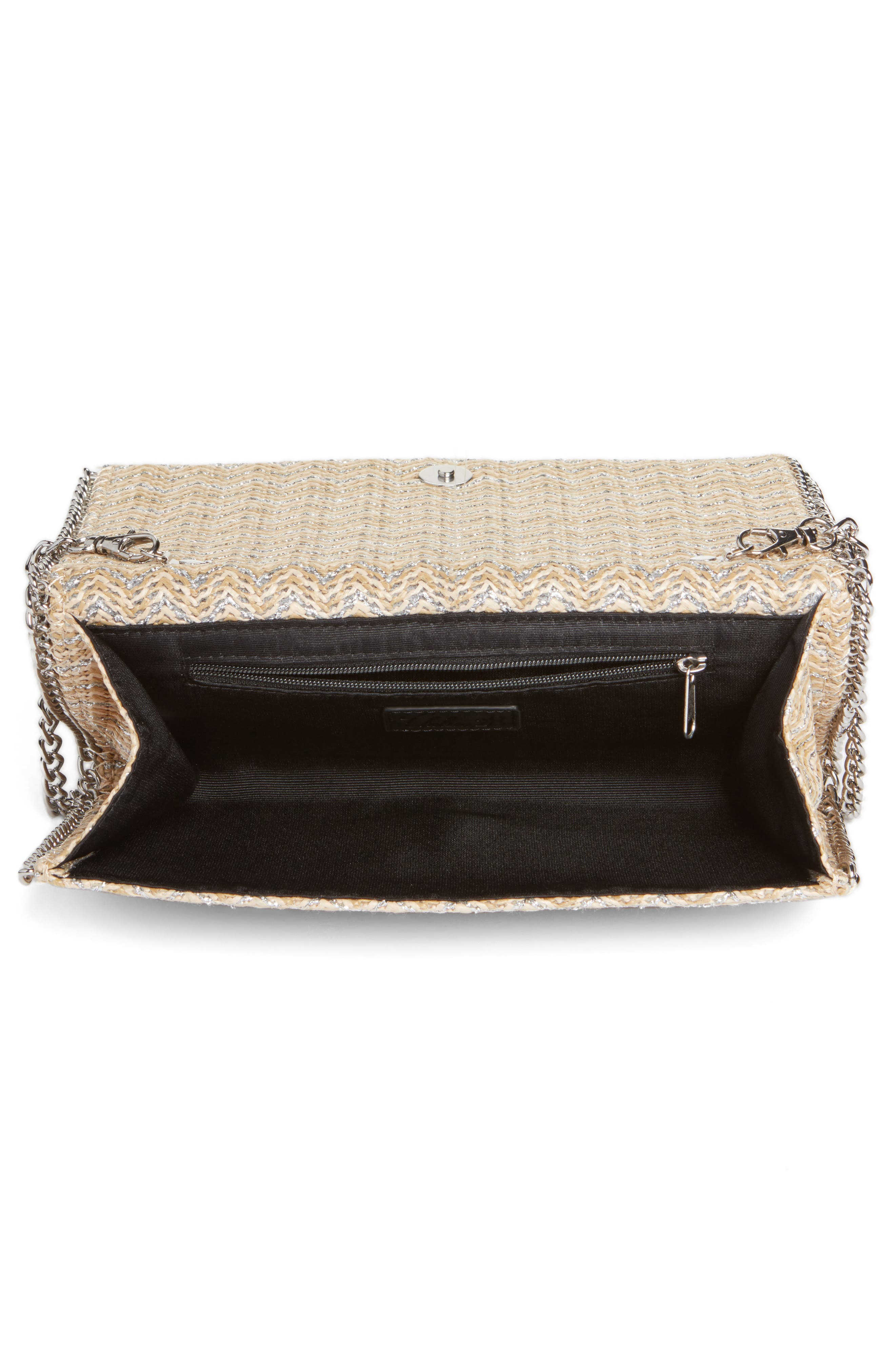 Stripe Straw Convertible Clutch,                             Alternate thumbnail 4, color,                             040