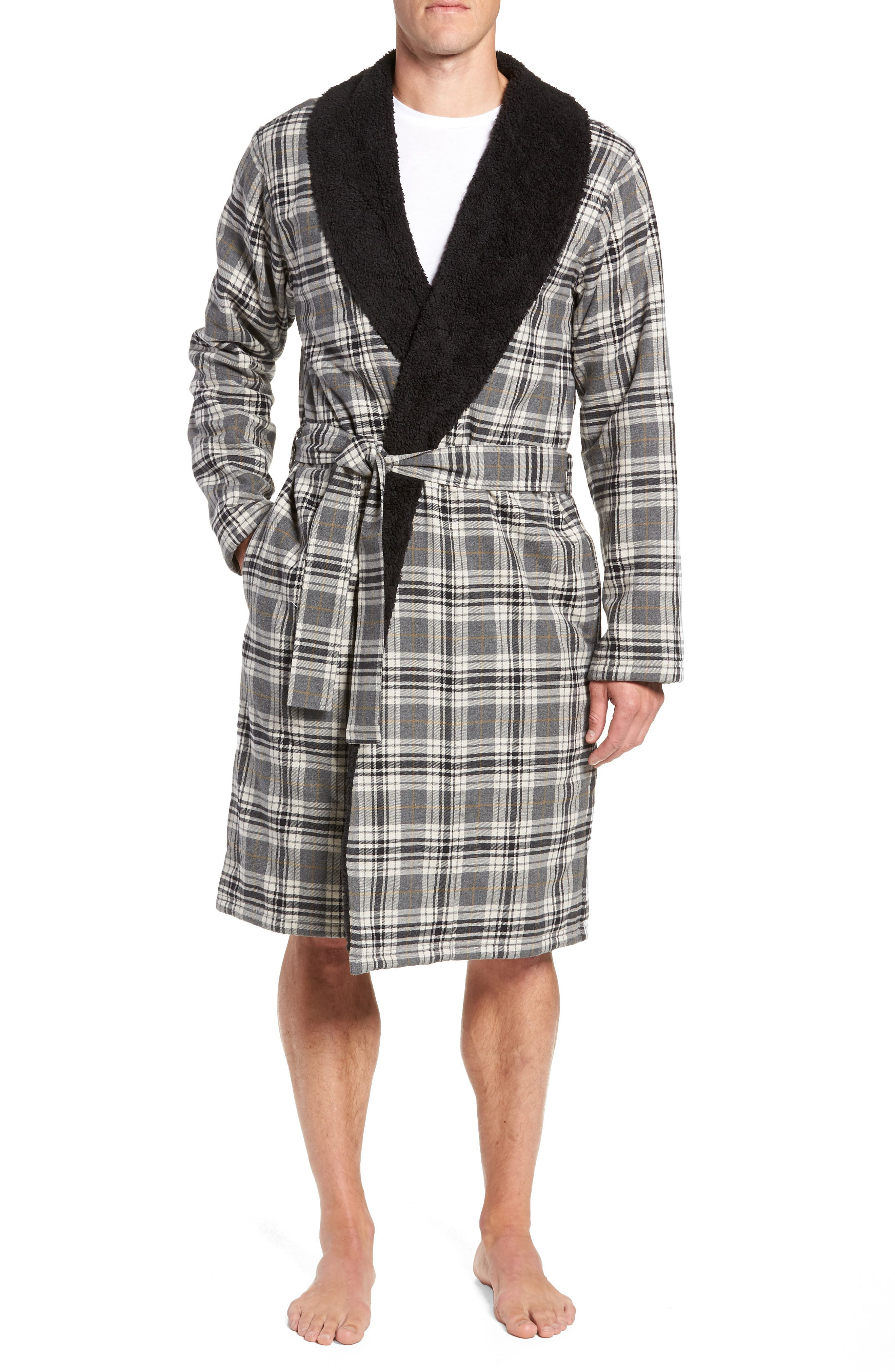 Men'S Kalib Sherpa-Lined Plaid Robe in Charcoal Plaid