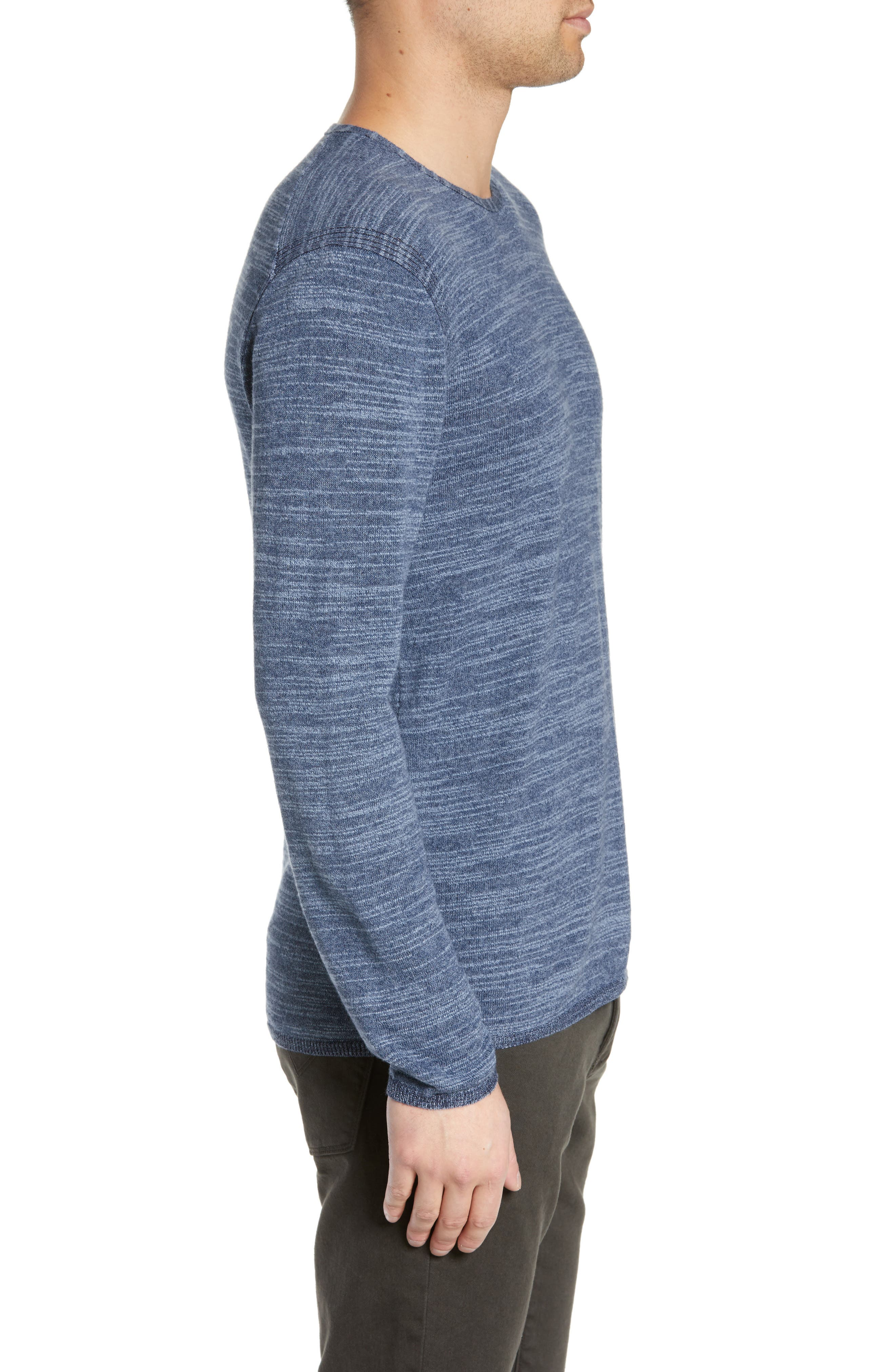 Vincent Plated Regular Fit Crewneck Sweater,                             Alternate thumbnail 3, color,                             STREAM BLUE