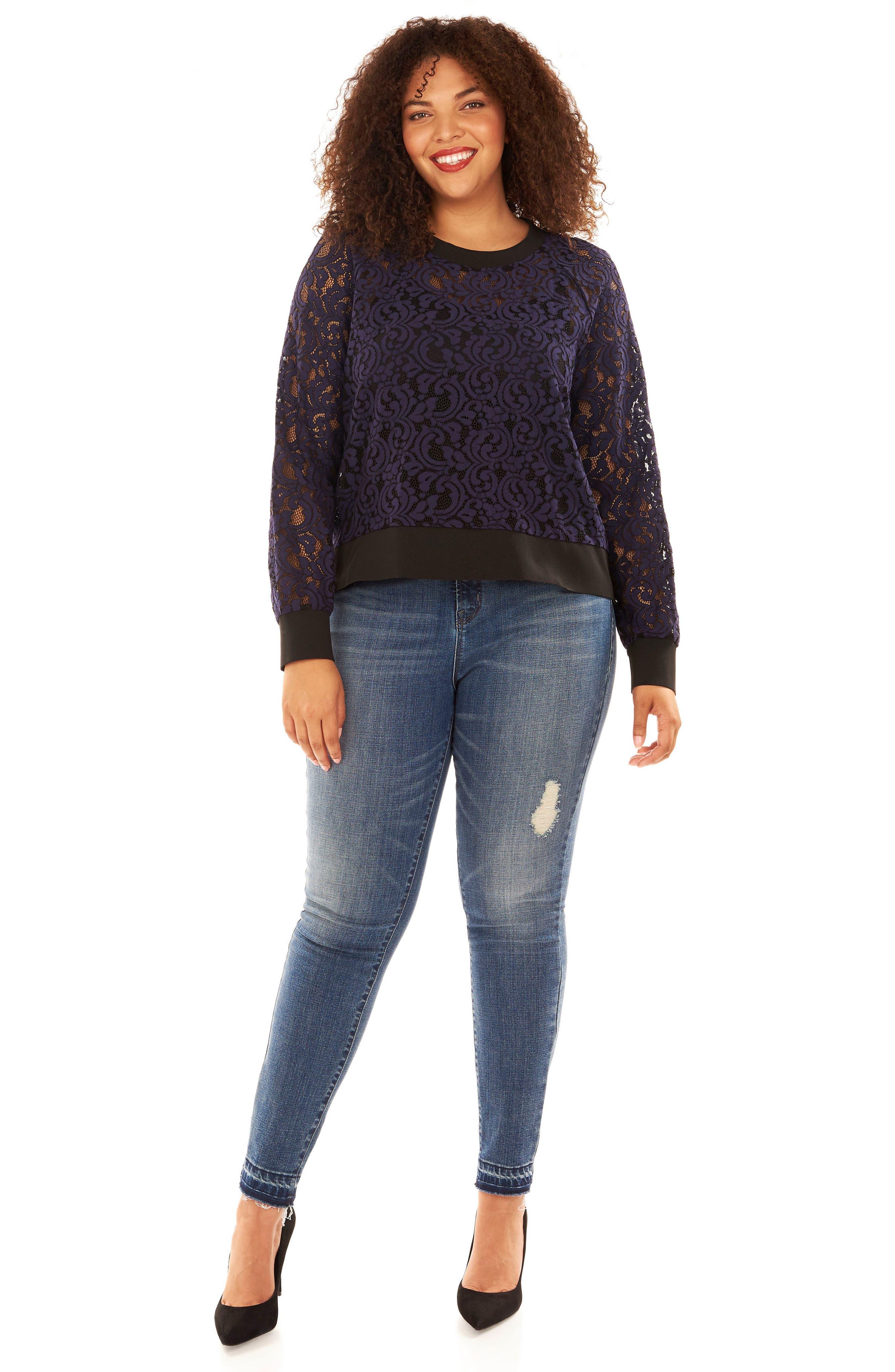Lace Sweatshirt,                             Alternate thumbnail 7, color,