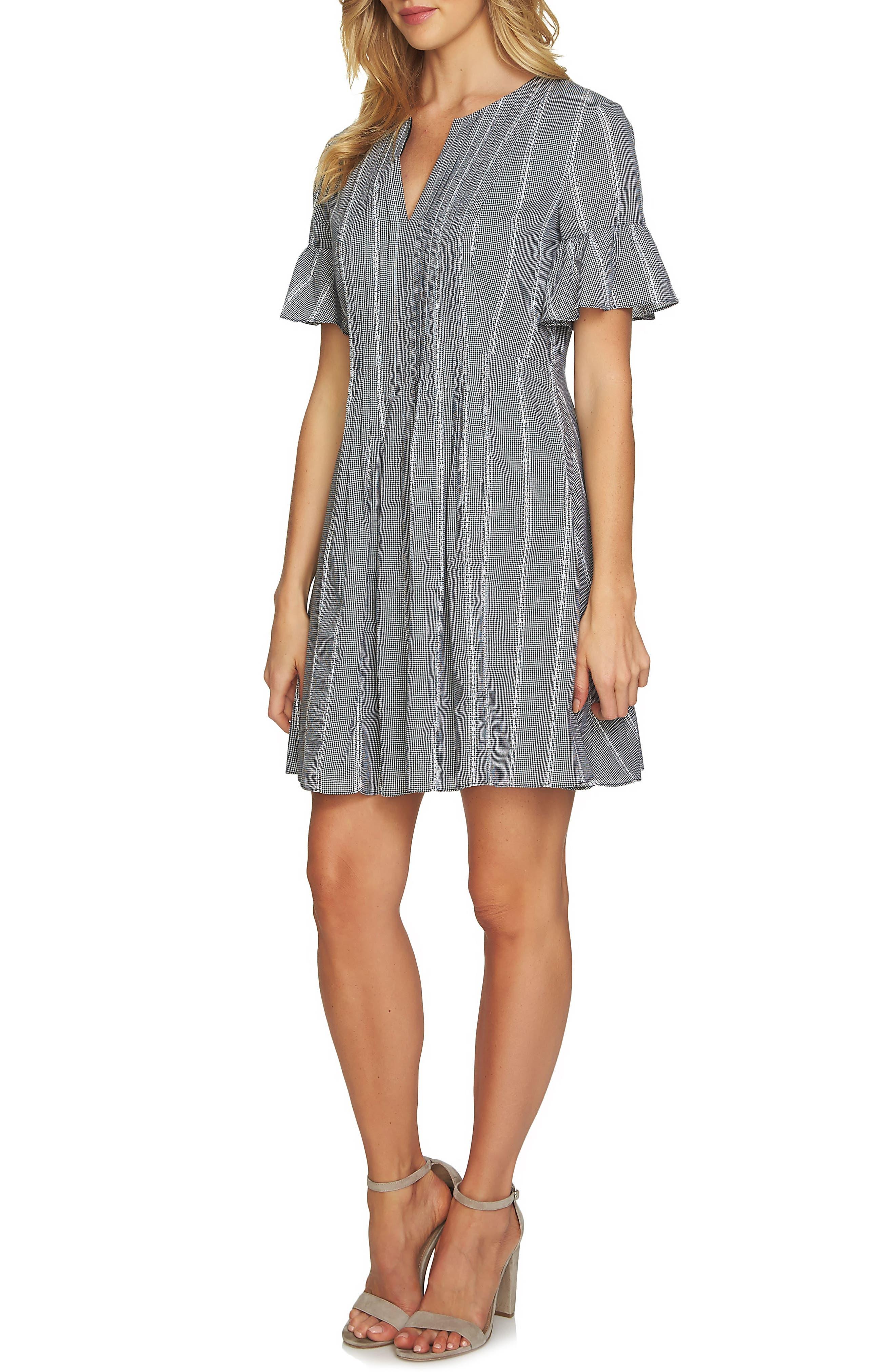 Ruffle Sleeve Pintuck Dress,                             Main thumbnail 1, color,                             006