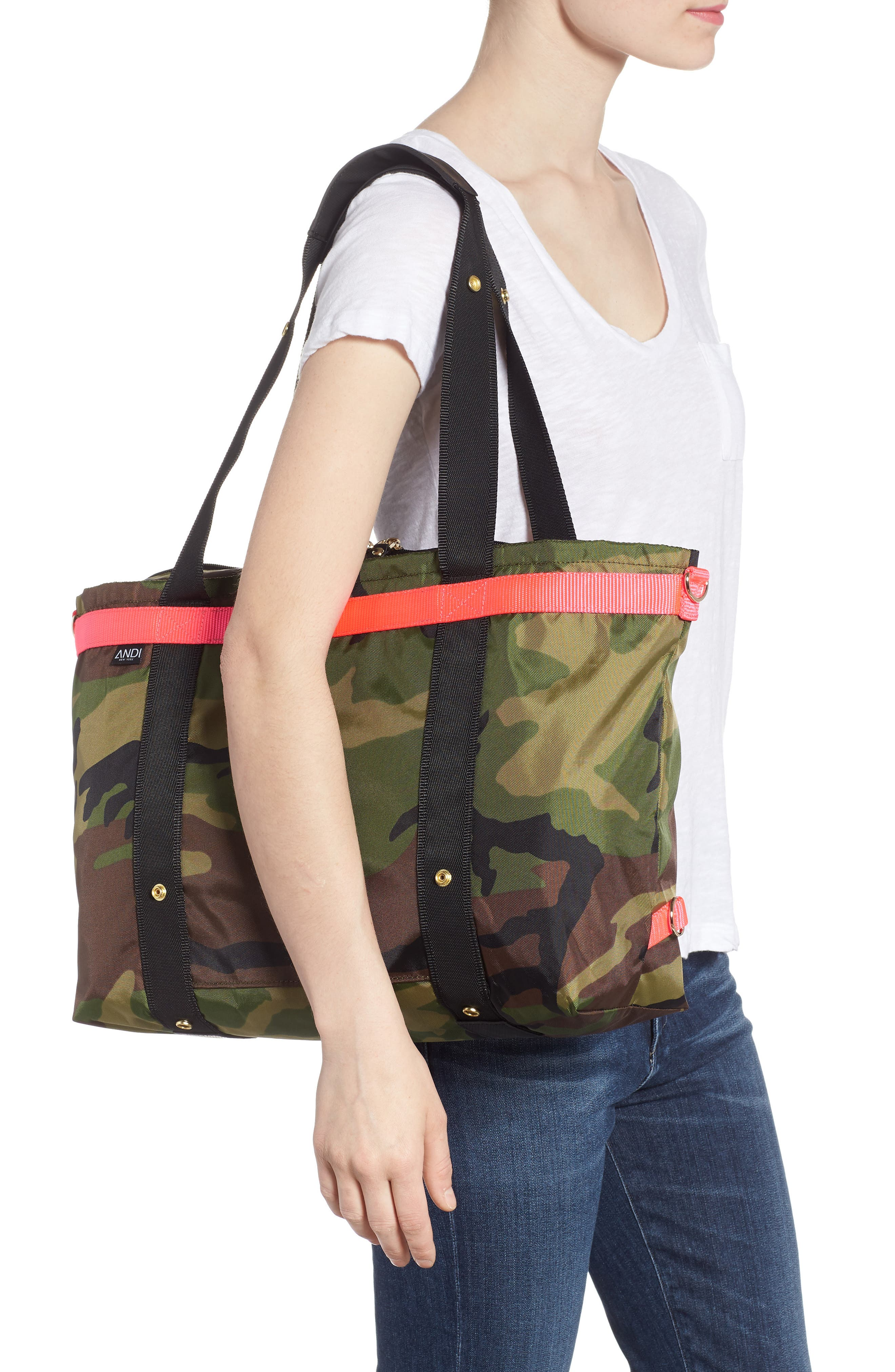The ANDI Camo Convertible Tote,                             Alternate thumbnail 2, color,                             WOODLAND CAMOUFLAGE/ HOT PINK