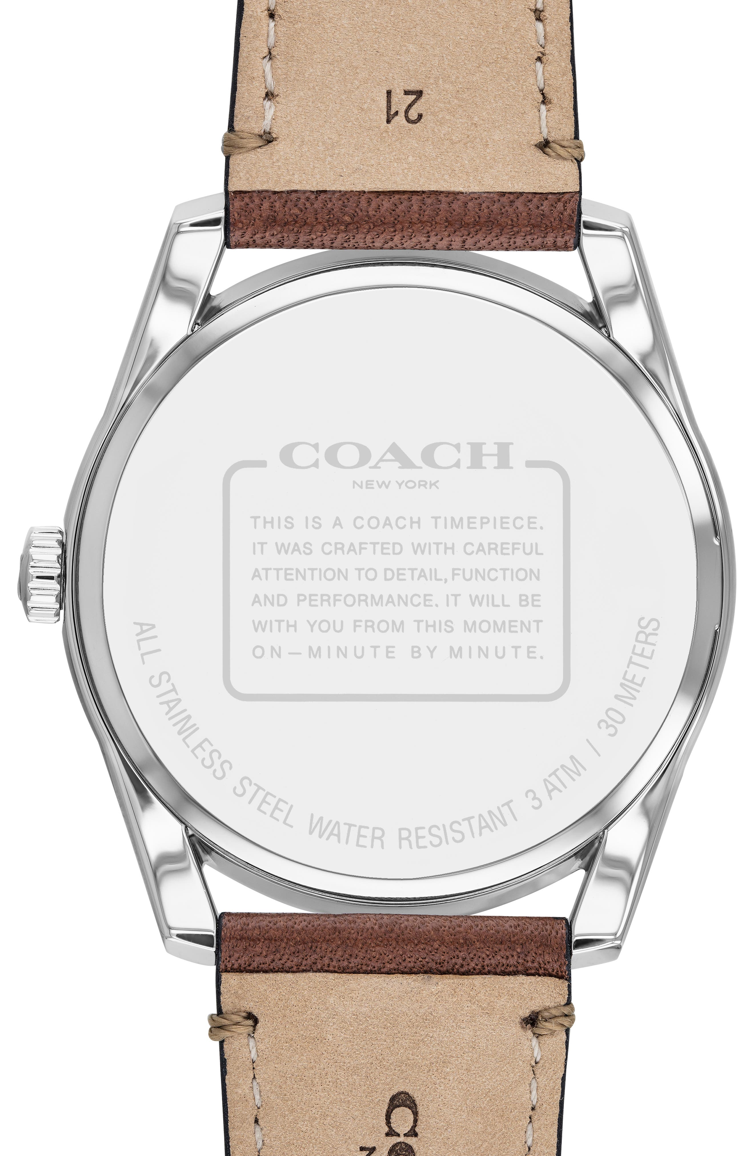 Preston Leather Strap Watch, 41mm,                             Alternate thumbnail 2, color,                             SADDLE/ SILVER/ NAVY