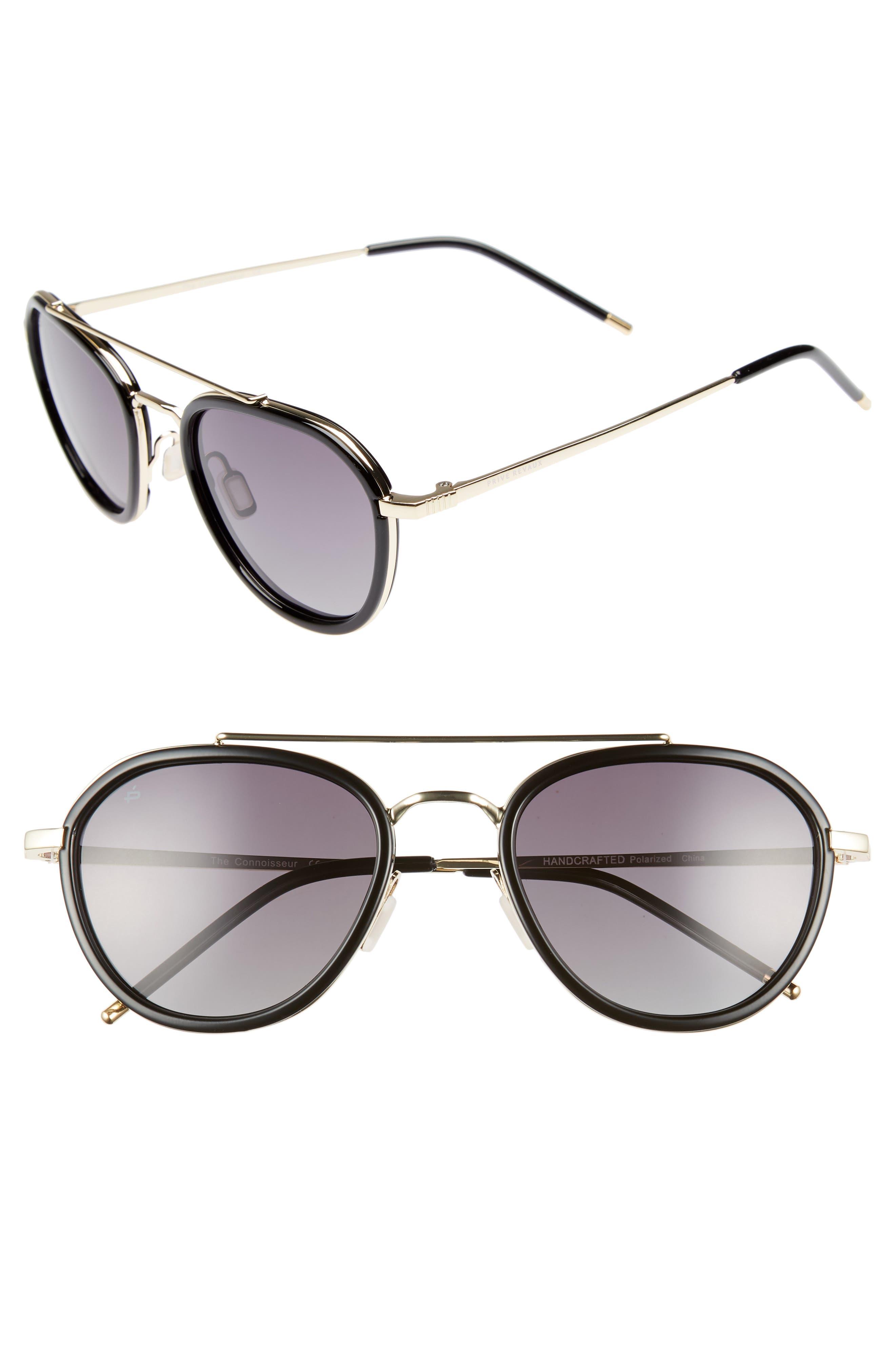 PRIVÉ REVAUX,                             The Connoisseur 53mm Polarized Sunglasses,                             Main thumbnail 1, color,                             BLACK