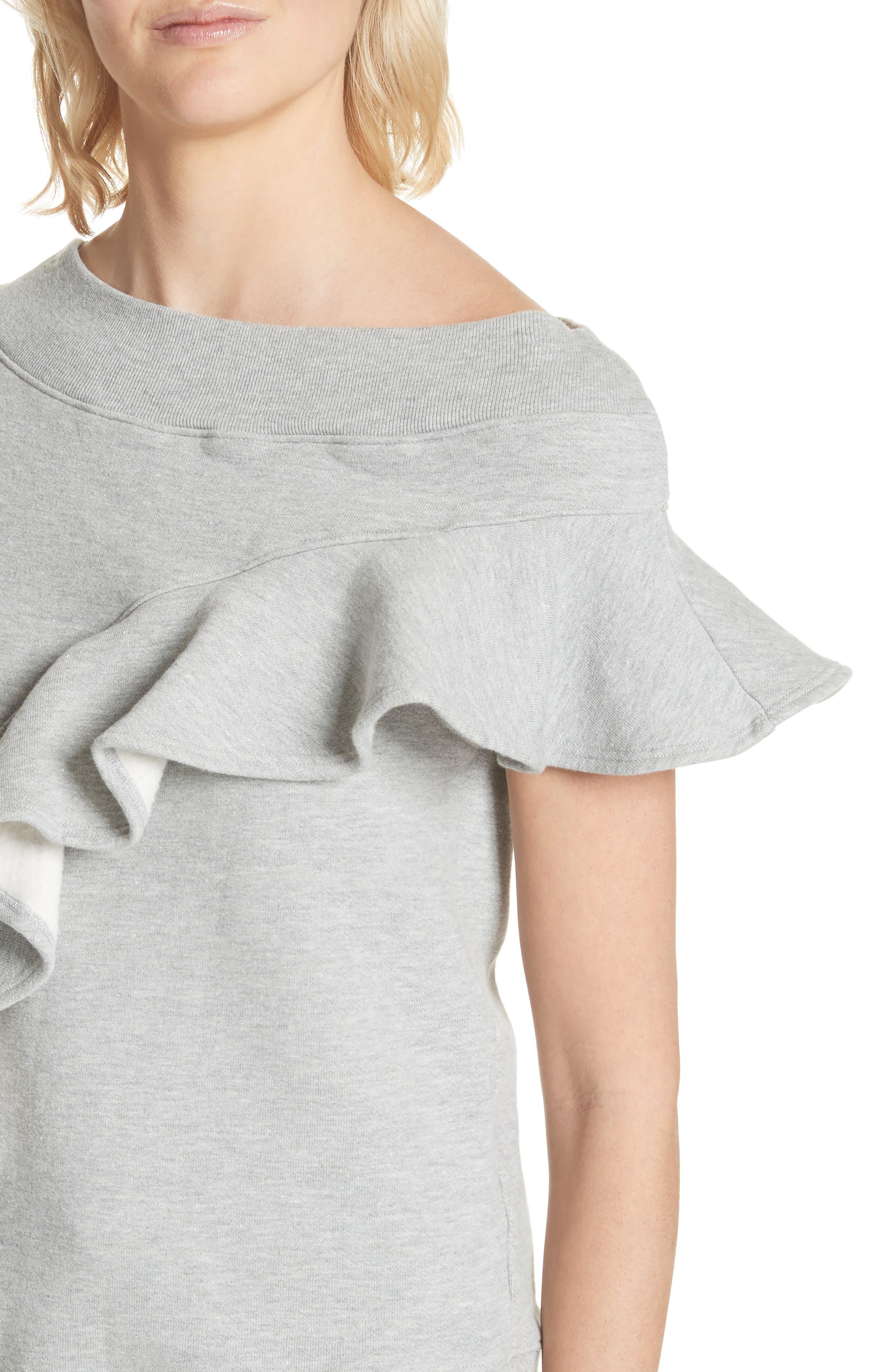 Asymmetrical Ruffle Sweatshirt,                             Alternate thumbnail 4, color,                             060