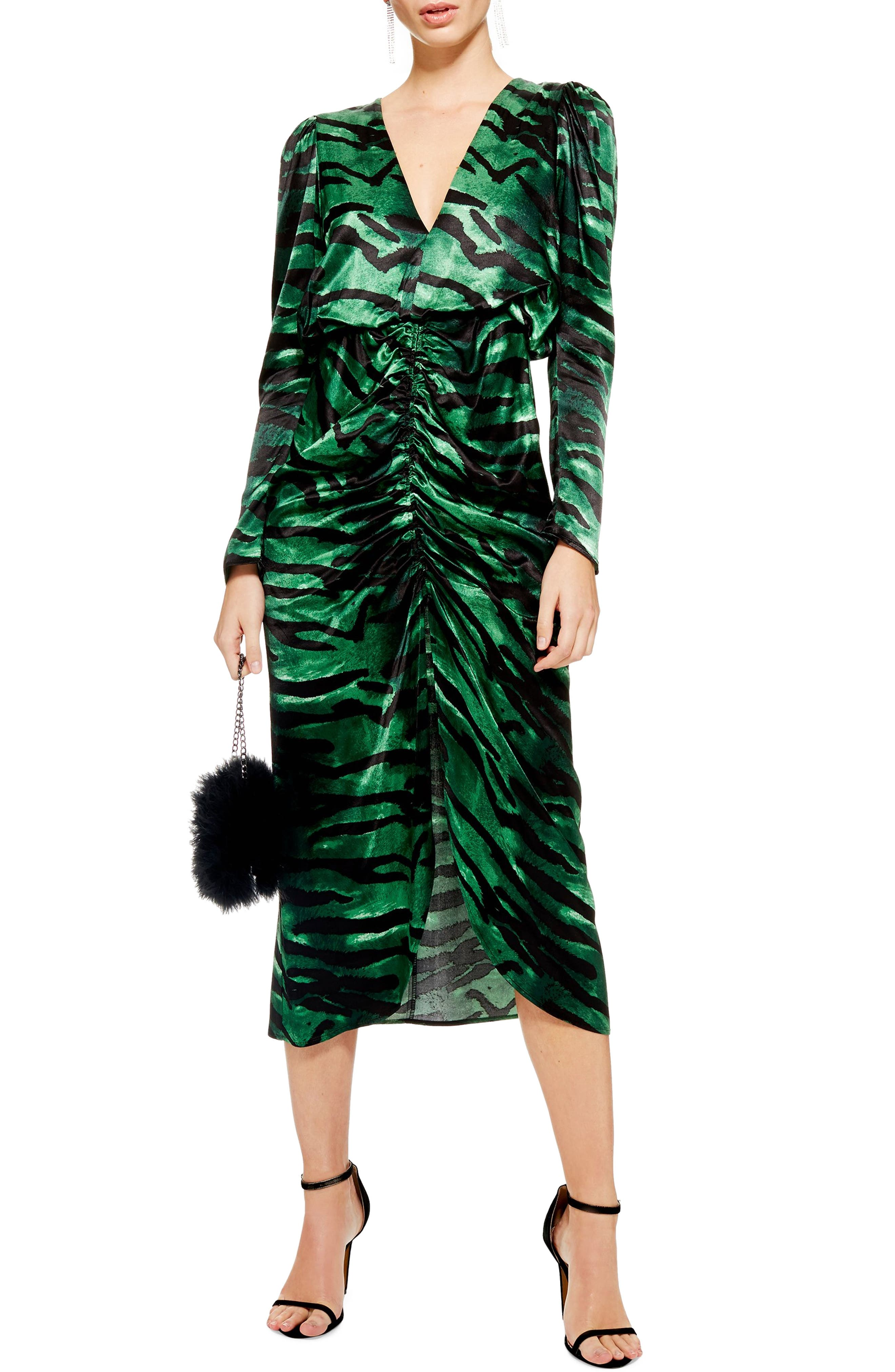Ruched Long Sleeve Dress, Main, color, GREEN MULTI