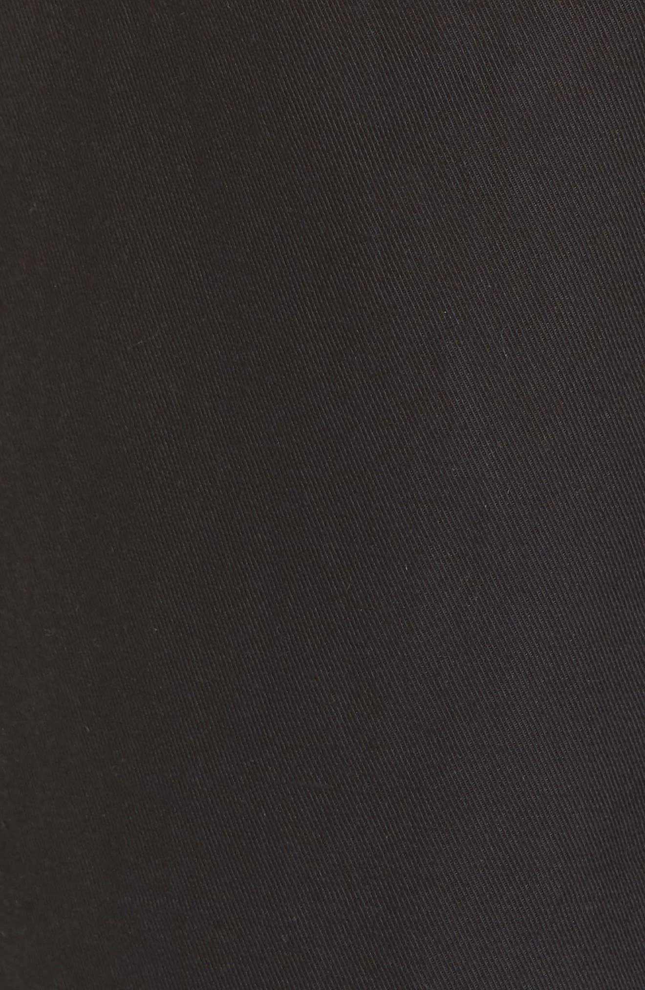 High Rise Linen Cotton Crop Pants,                             Alternate thumbnail 5, color,                             BLACK