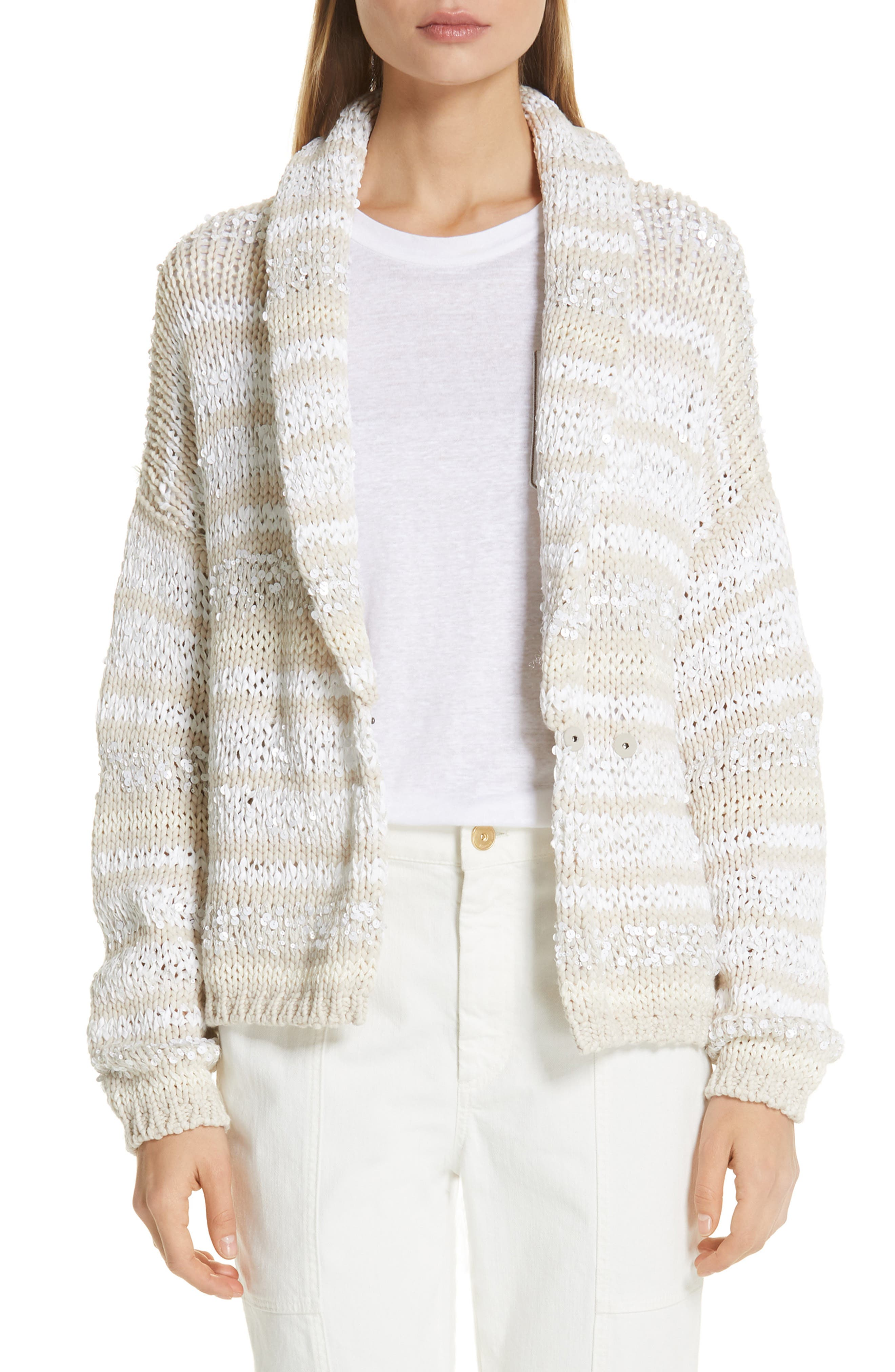 Sequin Stripe Cotton Blend Cardigan,                             Main thumbnail 1, color,                             OYSTER