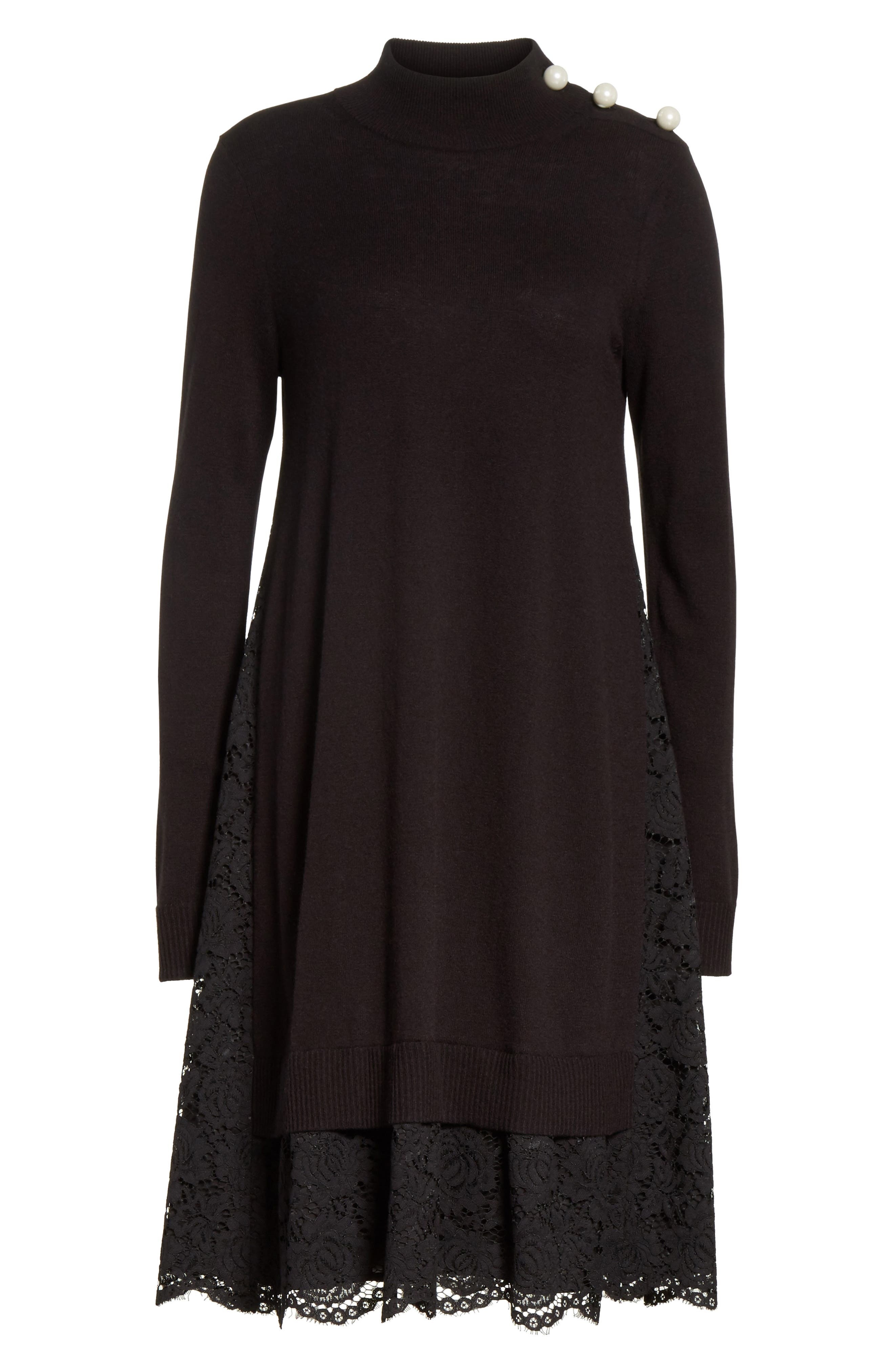 lace inset sweater dress,                             Alternate thumbnail 6, color,                             001