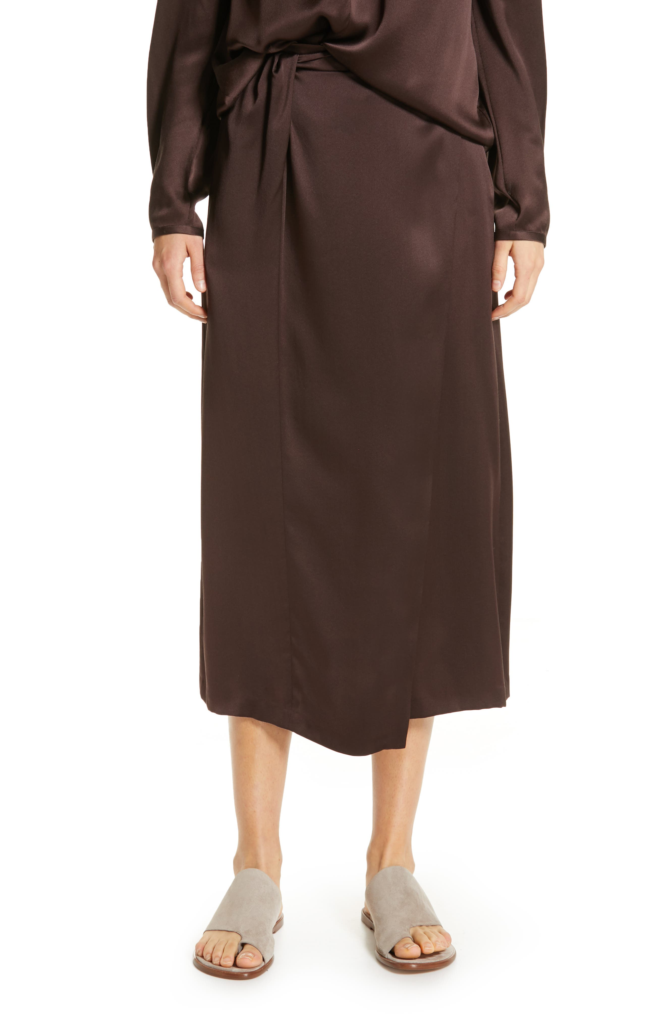 Knotted Wrap-Effect Silk-Satin Midi Skirt in Brown