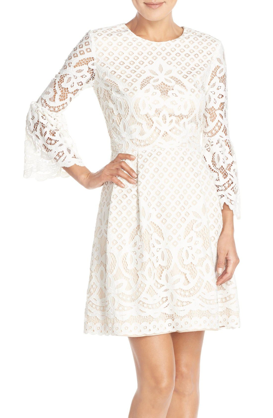 Bell Sleeve Fit & Flare Dress,                         Main,                         color, IVORY