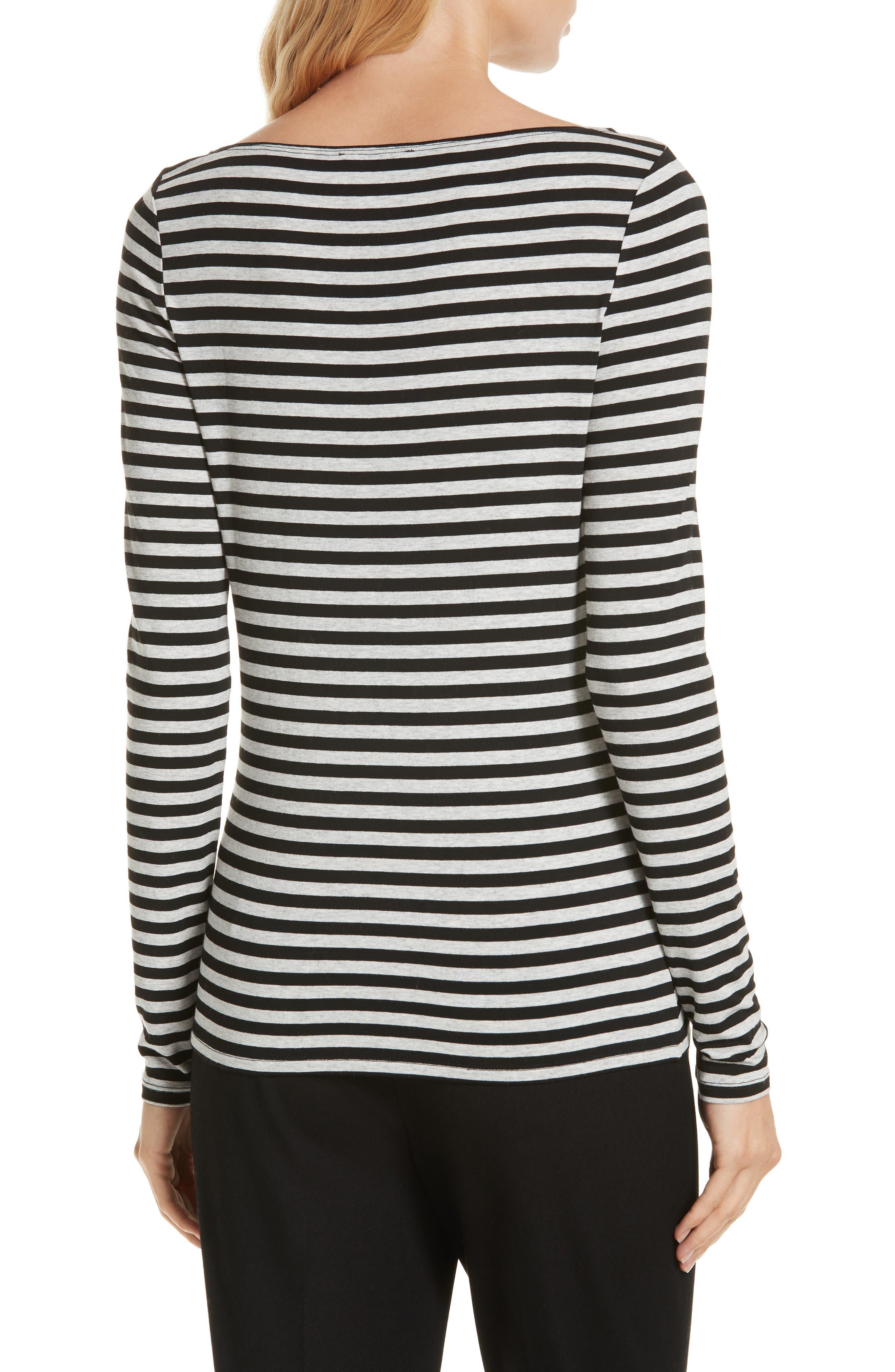 Stripe Bateau Neck Long Sleeve Tee,                             Alternate thumbnail 2, color,                             HEATHER GREY- BLACK STRIPE