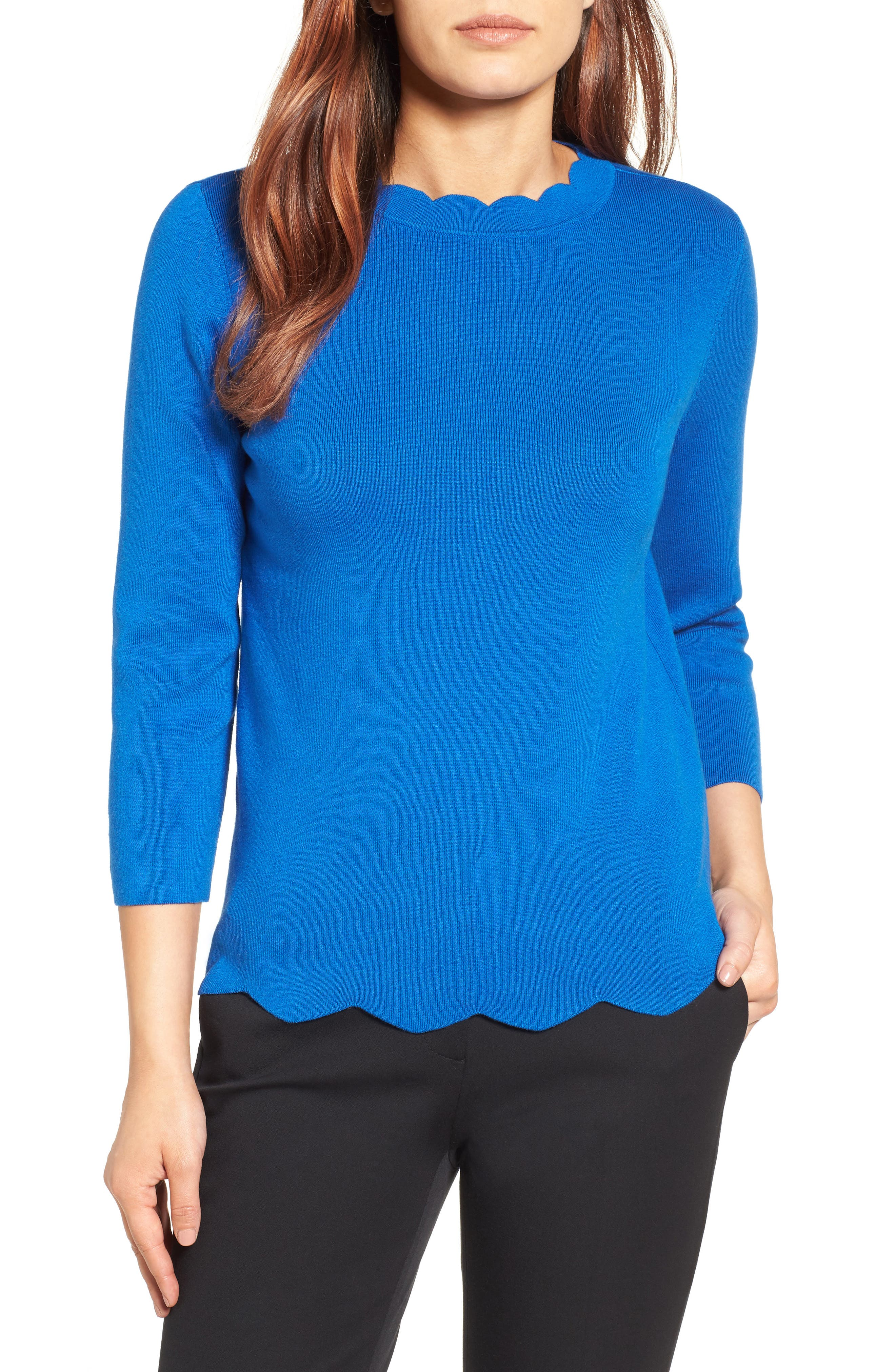Halogen Scallop Edge Sweater,                             Main thumbnail 7, color,