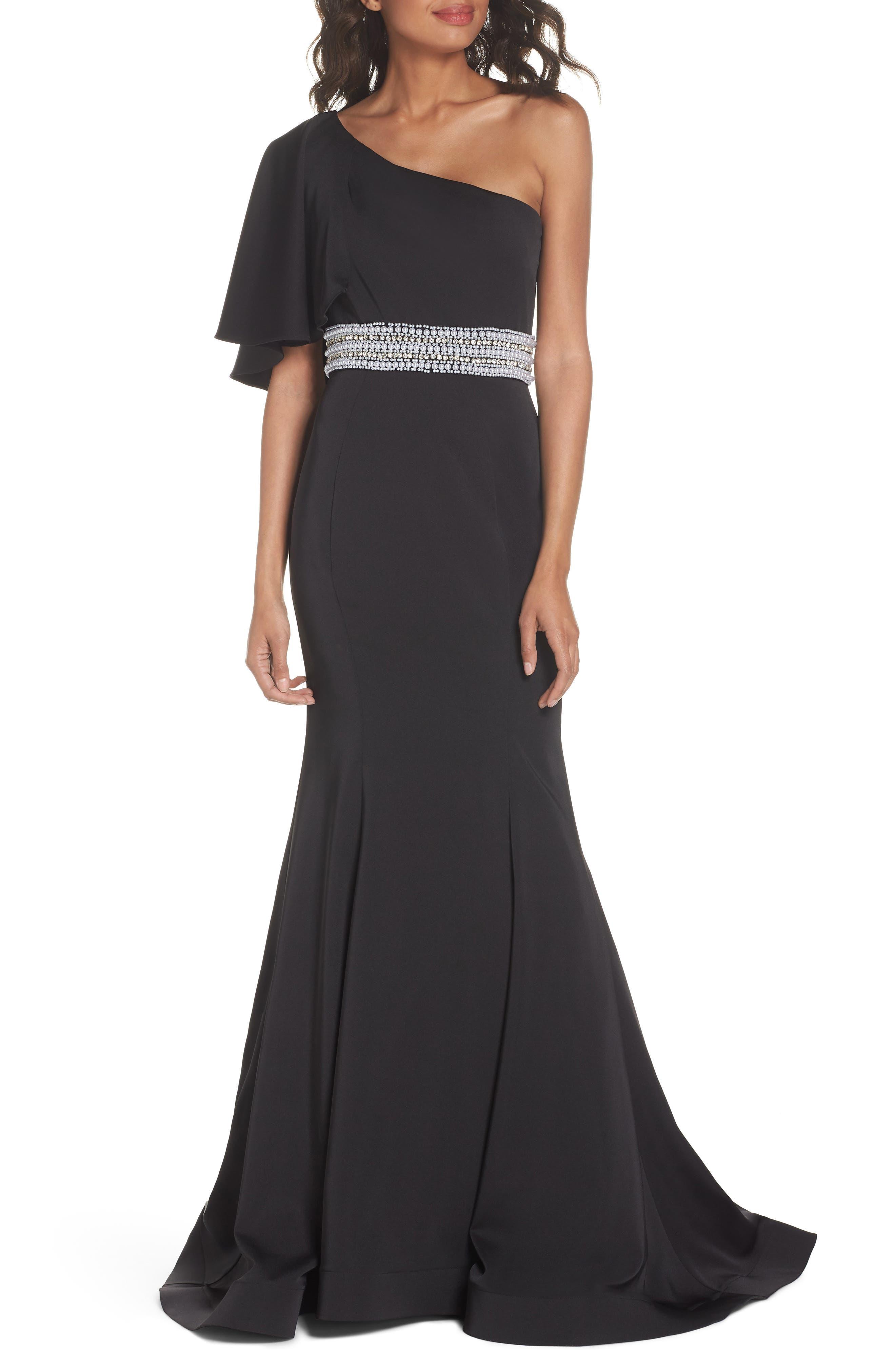 One-Shoulder Gown,                             Main thumbnail 1, color,                             BLACK