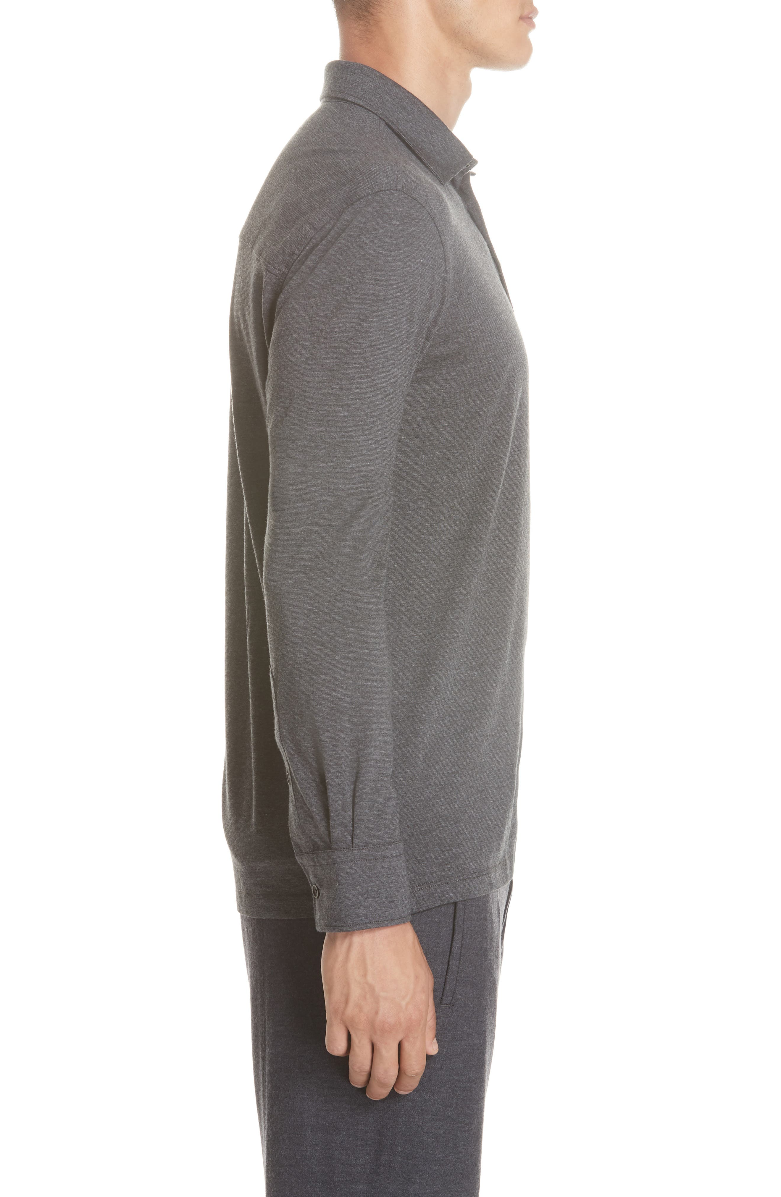 Wool & Cotton Long Sleeve Polo Shirt,                             Alternate thumbnail 3, color,                             CHARCOAL
