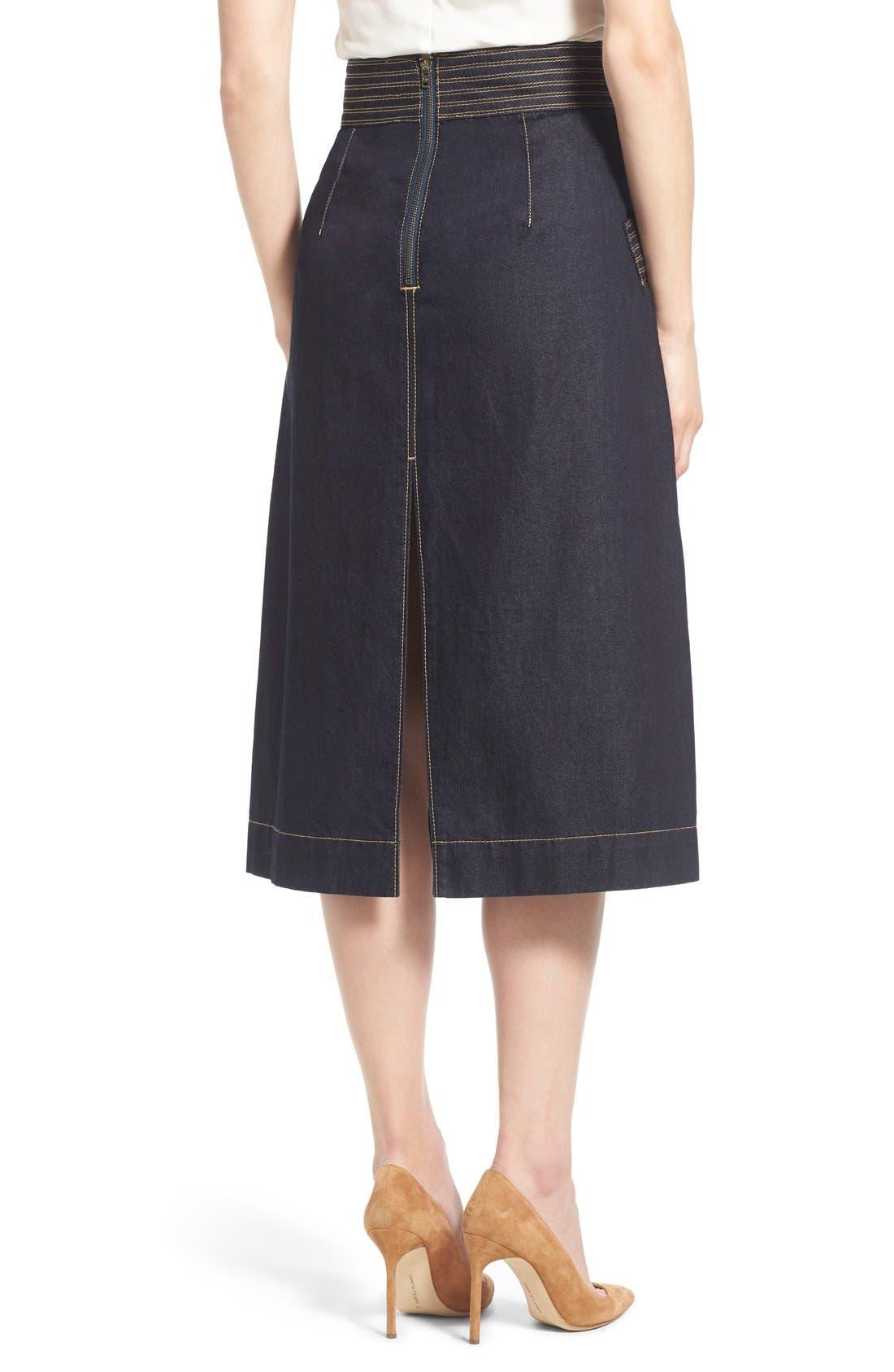 Retro Denim Skirt,                             Alternate thumbnail 5, color,                             410