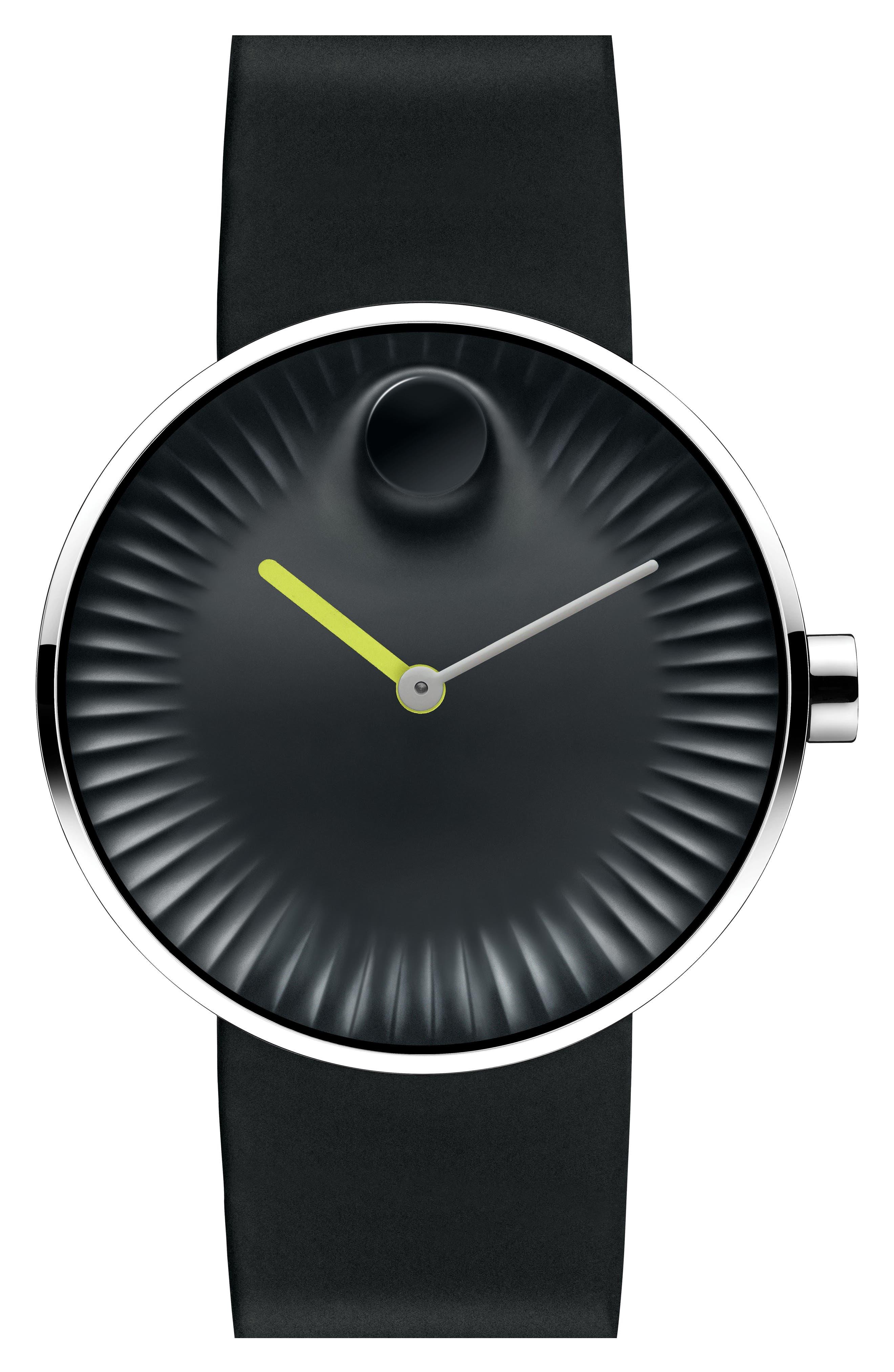 'Edge' Rubber Strap Watch, 40mm,                             Alternate thumbnail 2, color,                             001