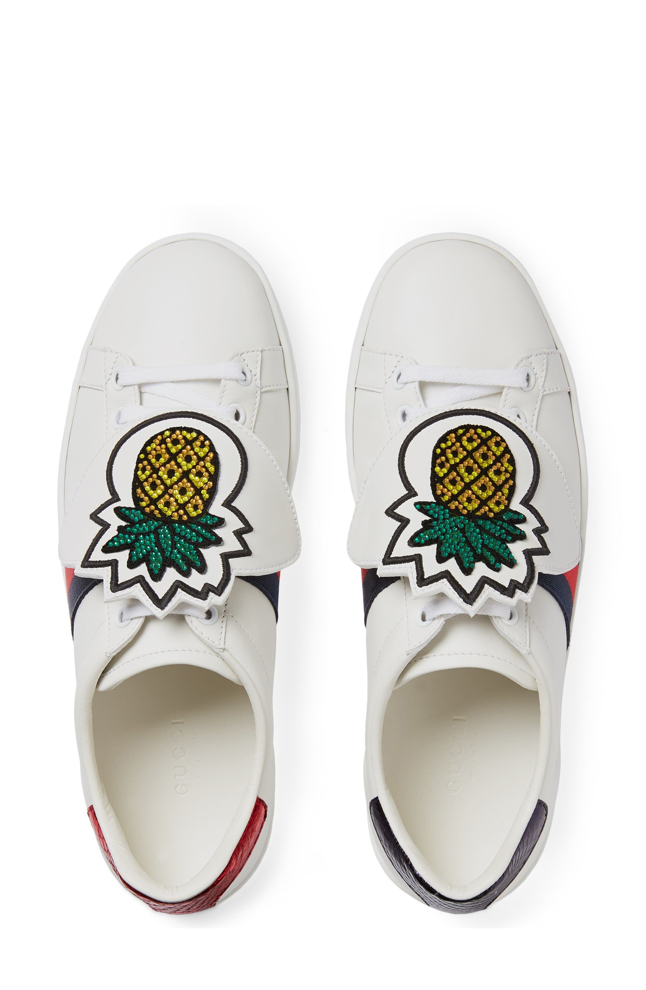 New Ace Pineapple Embroidered Patch Low Top Sneaker,                             Alternate thumbnail 4, color,                             WHITE LEATHER