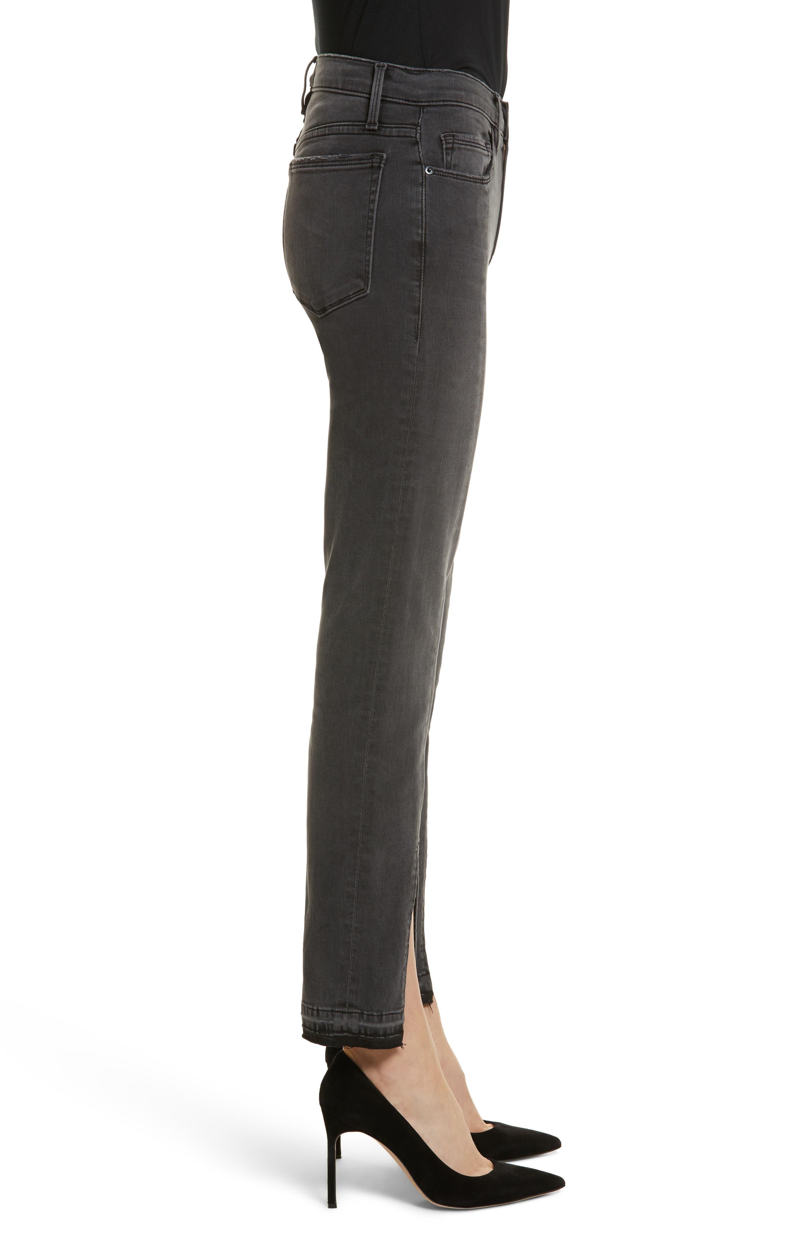 Le Nouveau Straight Split Hem Skinny Jeans,                             Alternate thumbnail 3, color,                             020