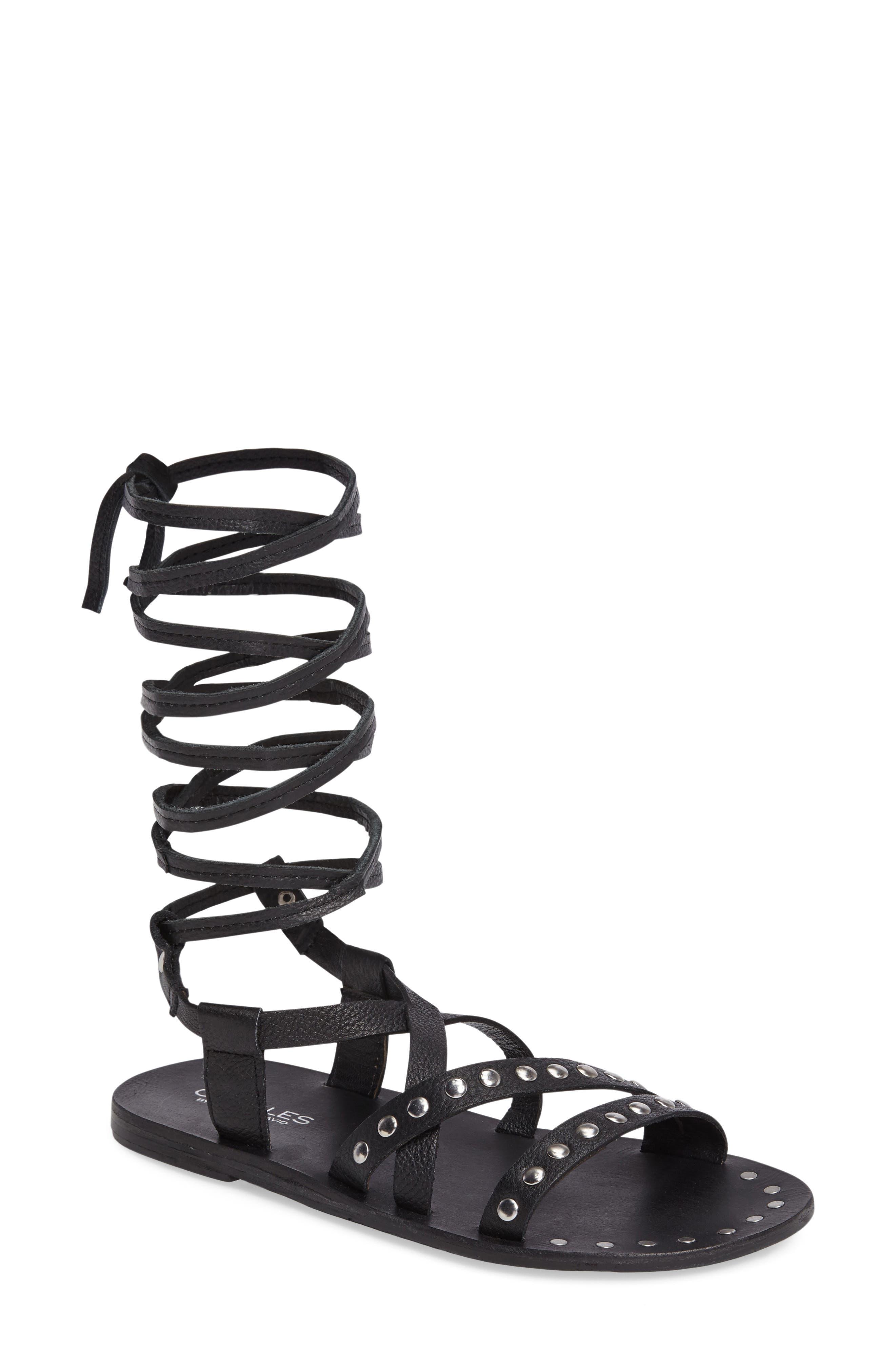 Steeler Ankle Wrap Sandal,                         Main,                         color, 001