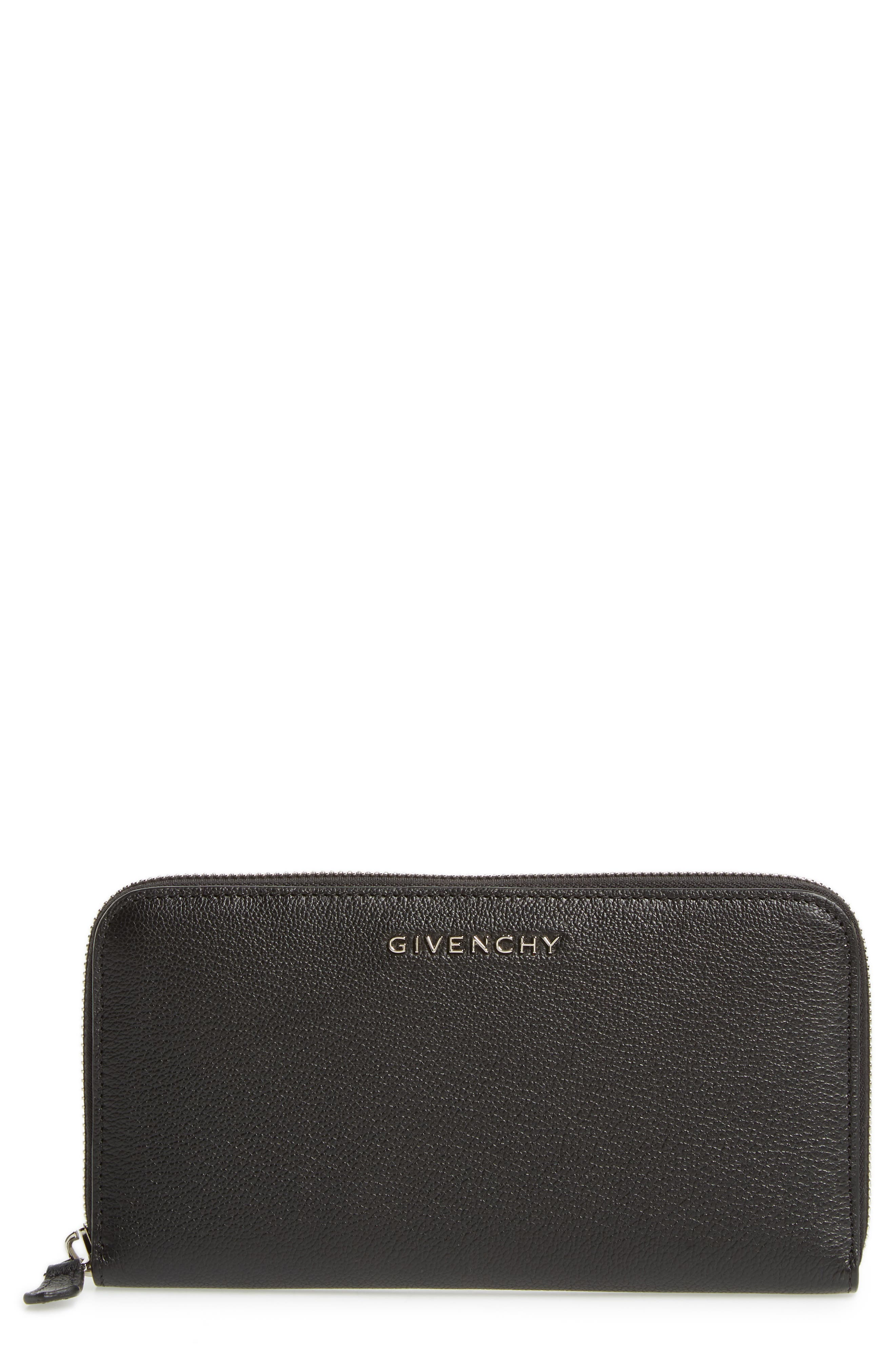 Padora Leather Zip Around Wallet,                         Main,                         color, BLACK