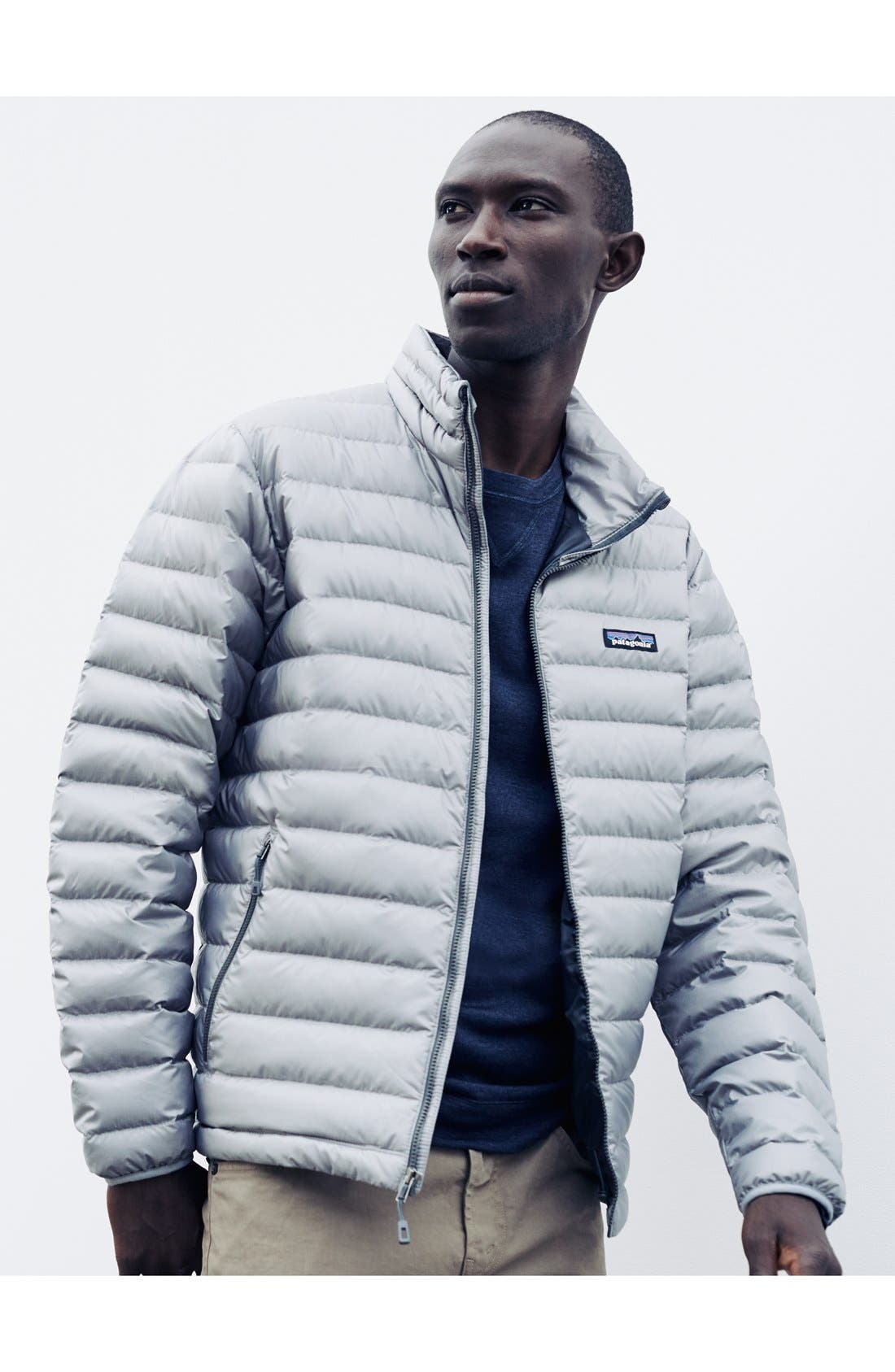 Water Repellent Down Jacket,                             Alternate thumbnail 8, color,                             NAVY BLUE W/ NAVY BLUE