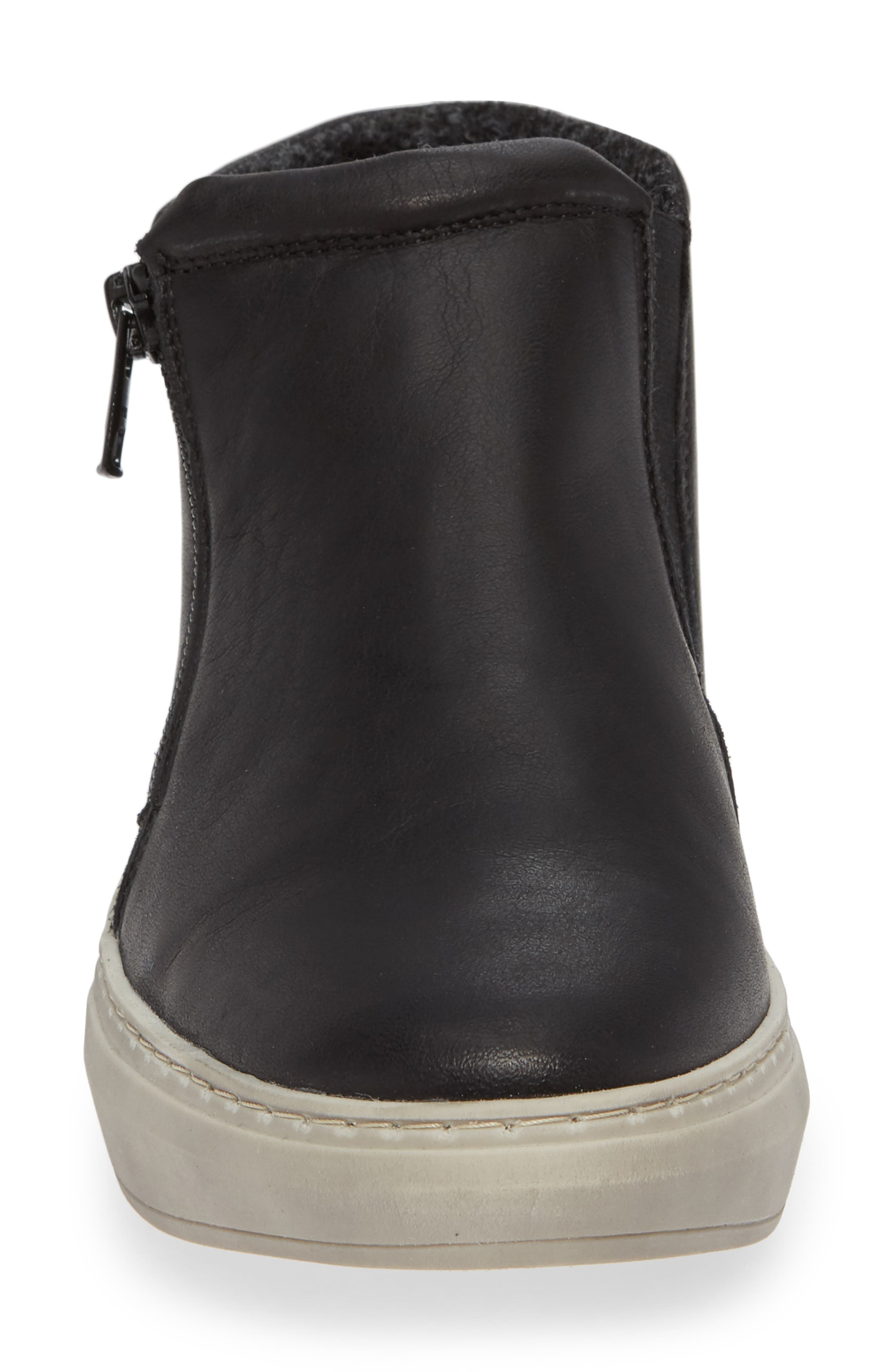 CLOUD,                             Qupid Wool Lined Sneaker,                             Alternate thumbnail 4, color,                             BLACK LEATHER