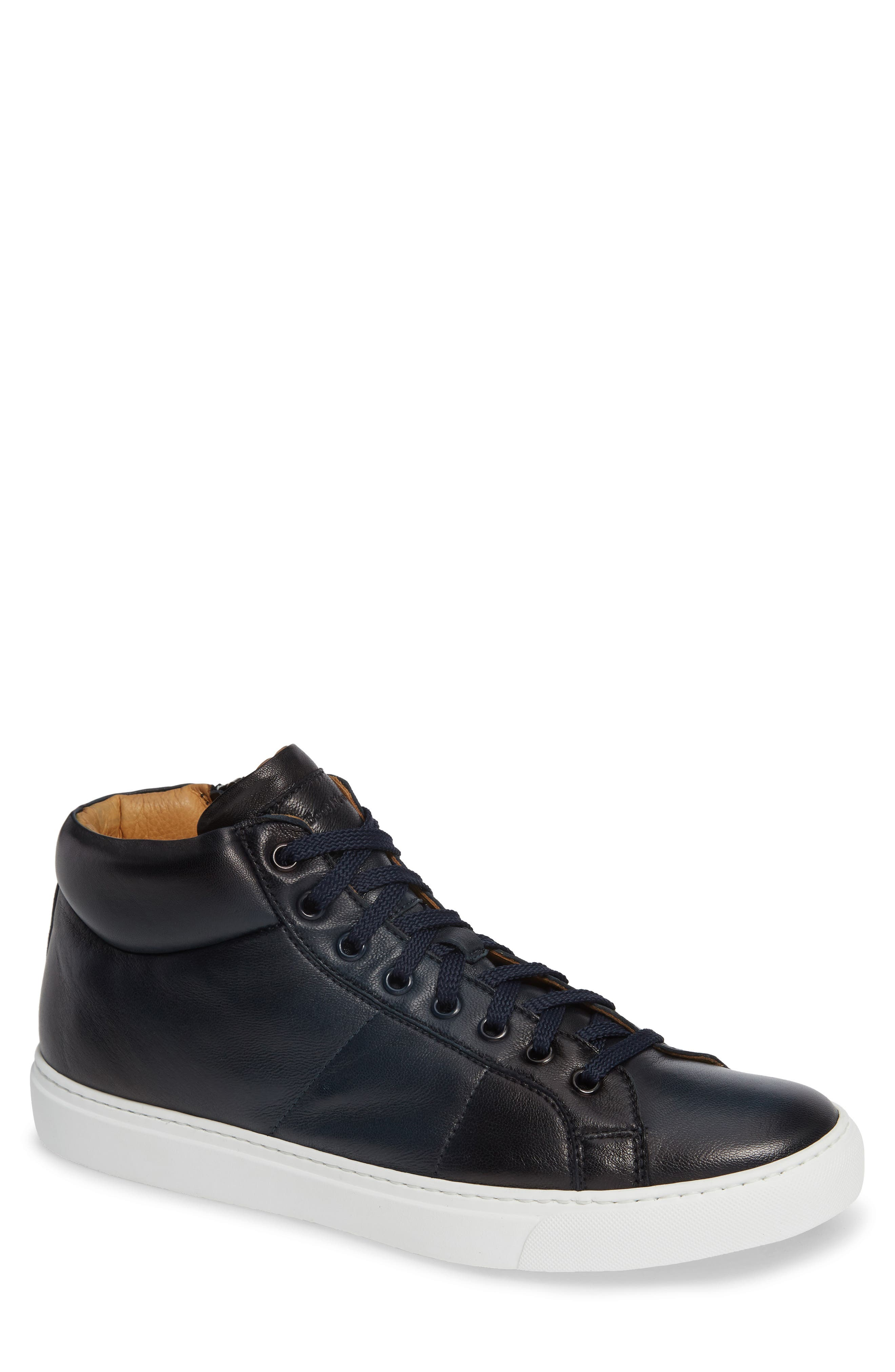 Rayburn Mid Top Sneaker,                         Main,                         color, NAVY LEATHER