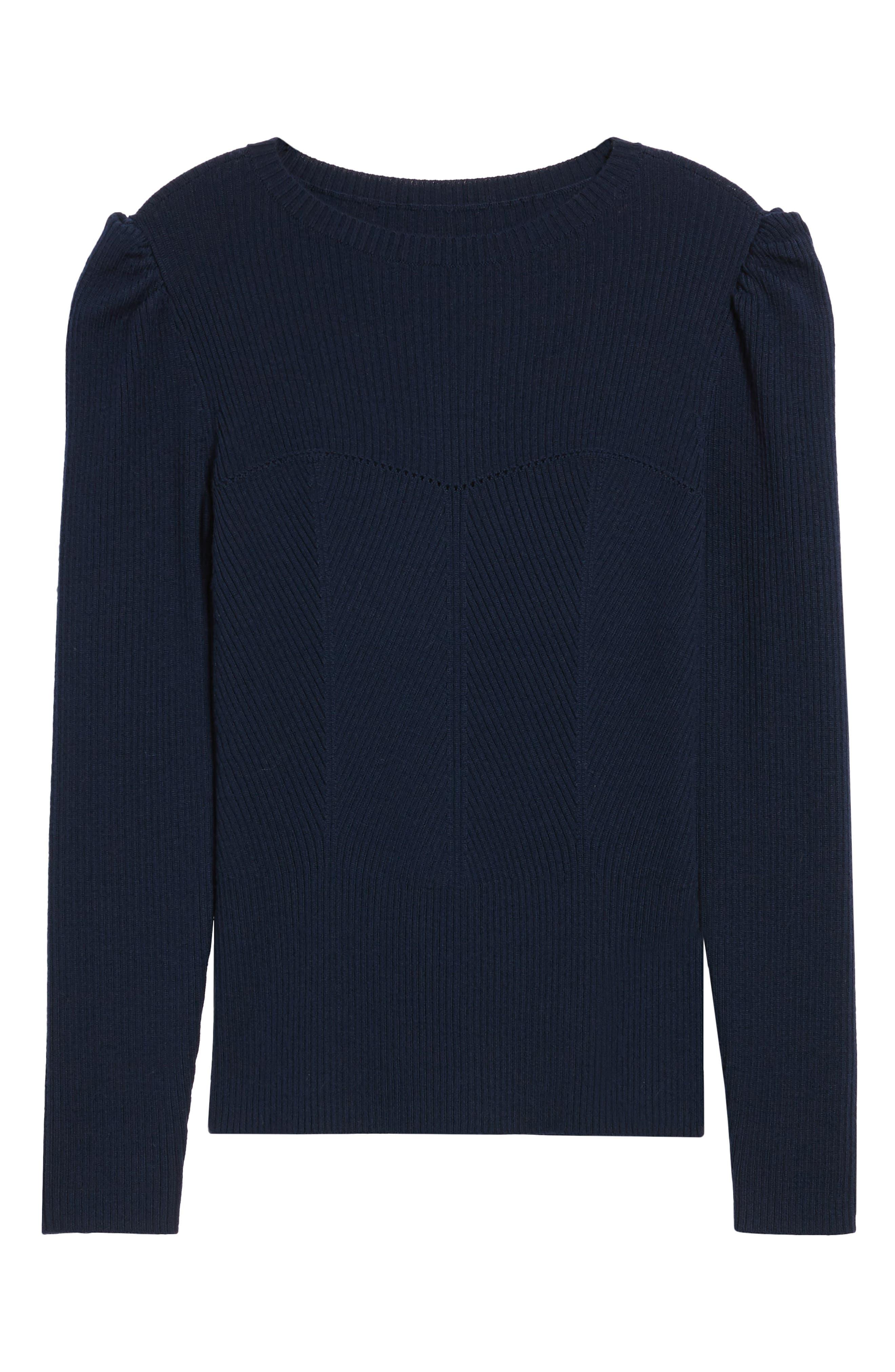 Puff Sleeve Merino Wool Blend Sweater,                             Alternate thumbnail 6, color,                             410