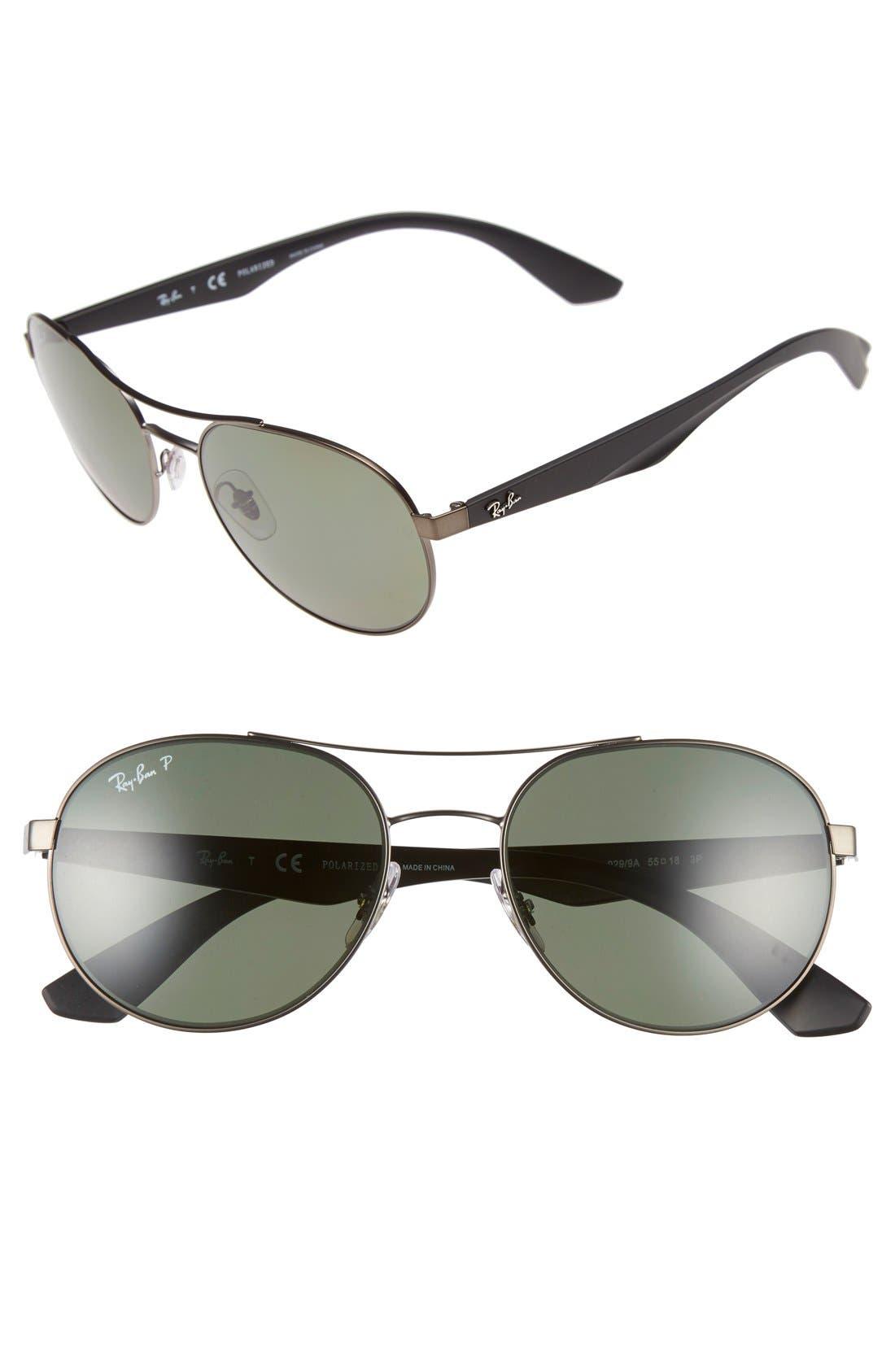 55mm Polarized Sunglasses,                             Main thumbnail 1, color,                             MATTE GUNMETAL/ GREEN P