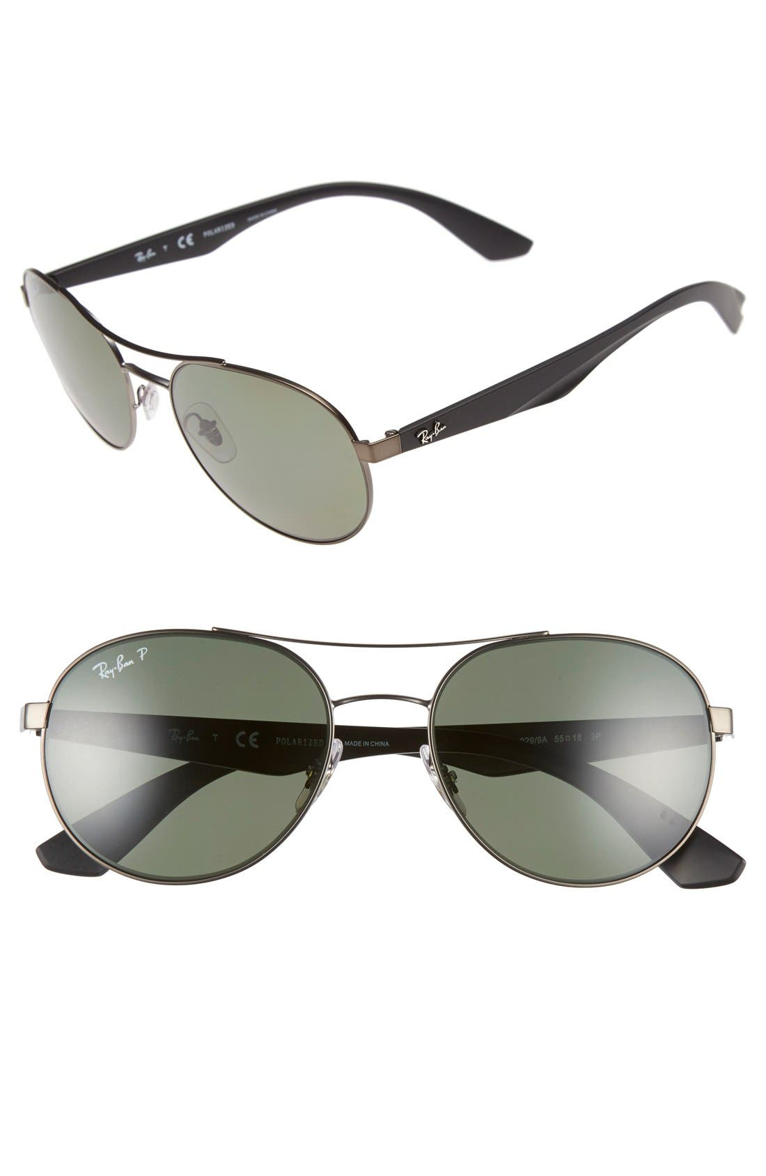 55mm Polarized Sunglasses,                         Main,                         color, MATTE GUNMETAL/ GREEN P