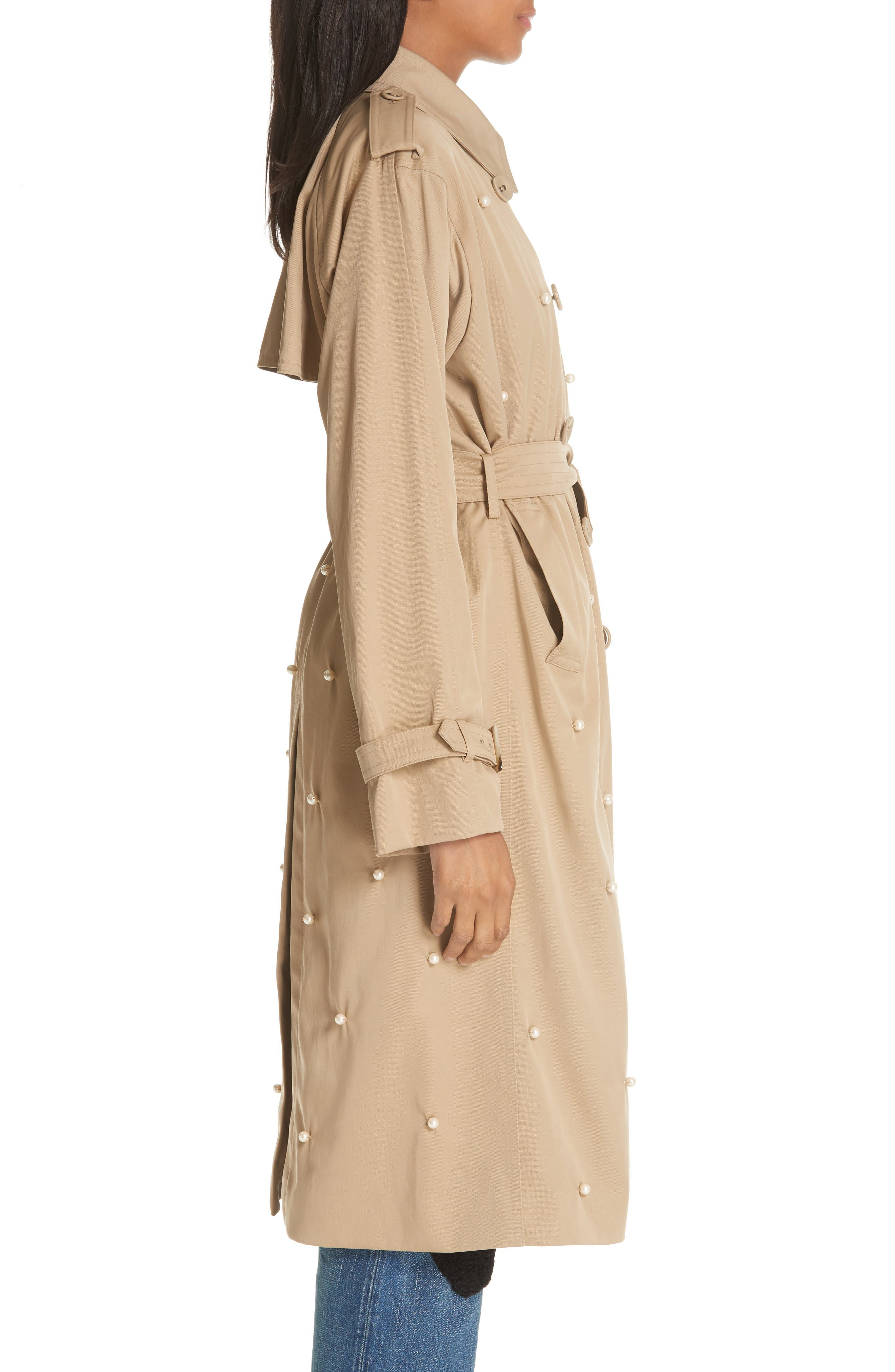 Imitation Pearl Embellished Trench Coat,                             Alternate thumbnail 3, color,                             BEIGE BEIG