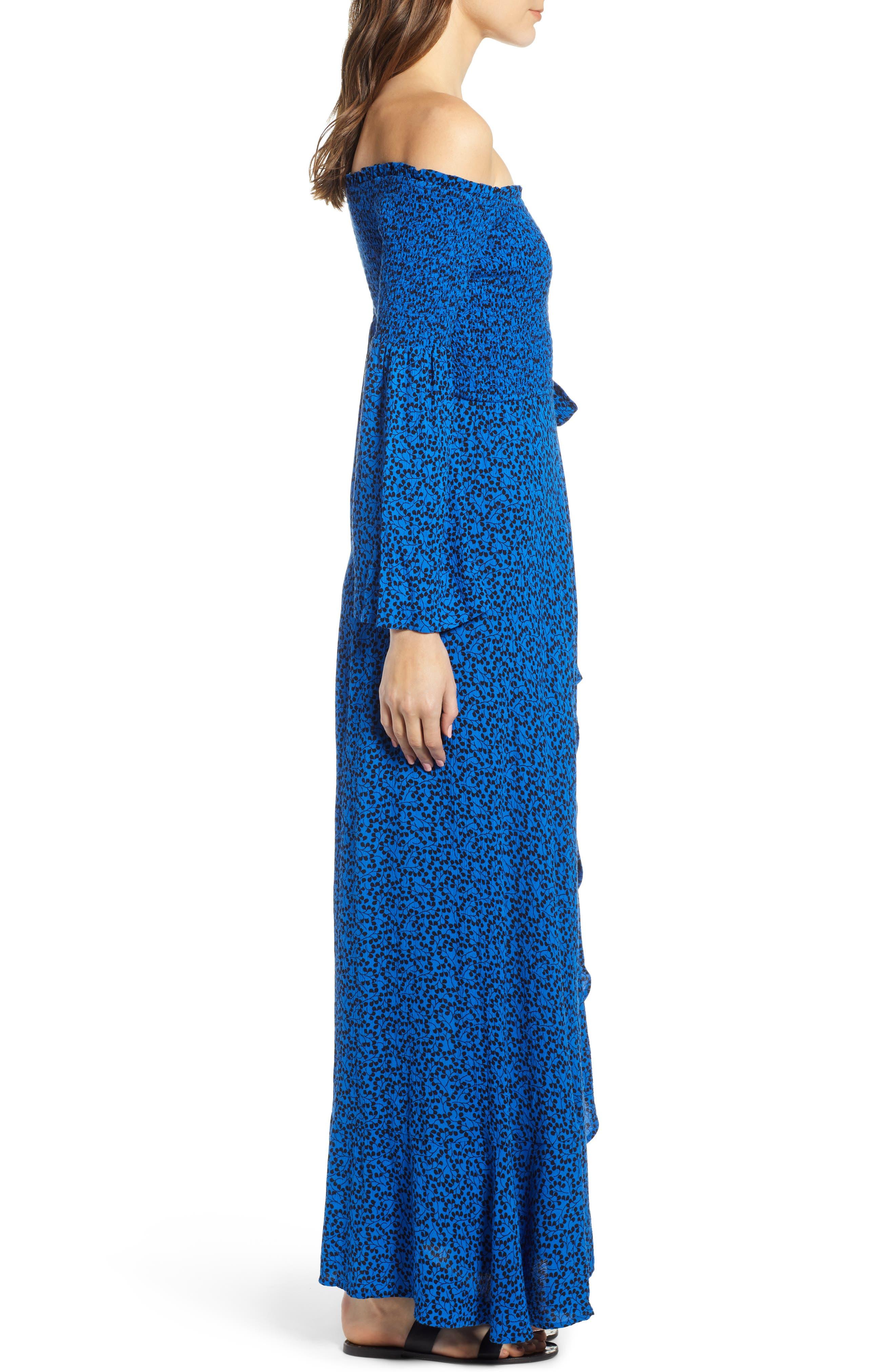 Bali Off The Shoulder Maxi Dress,                             Alternate thumbnail 3, color,                             ROYAL/ BLACK
