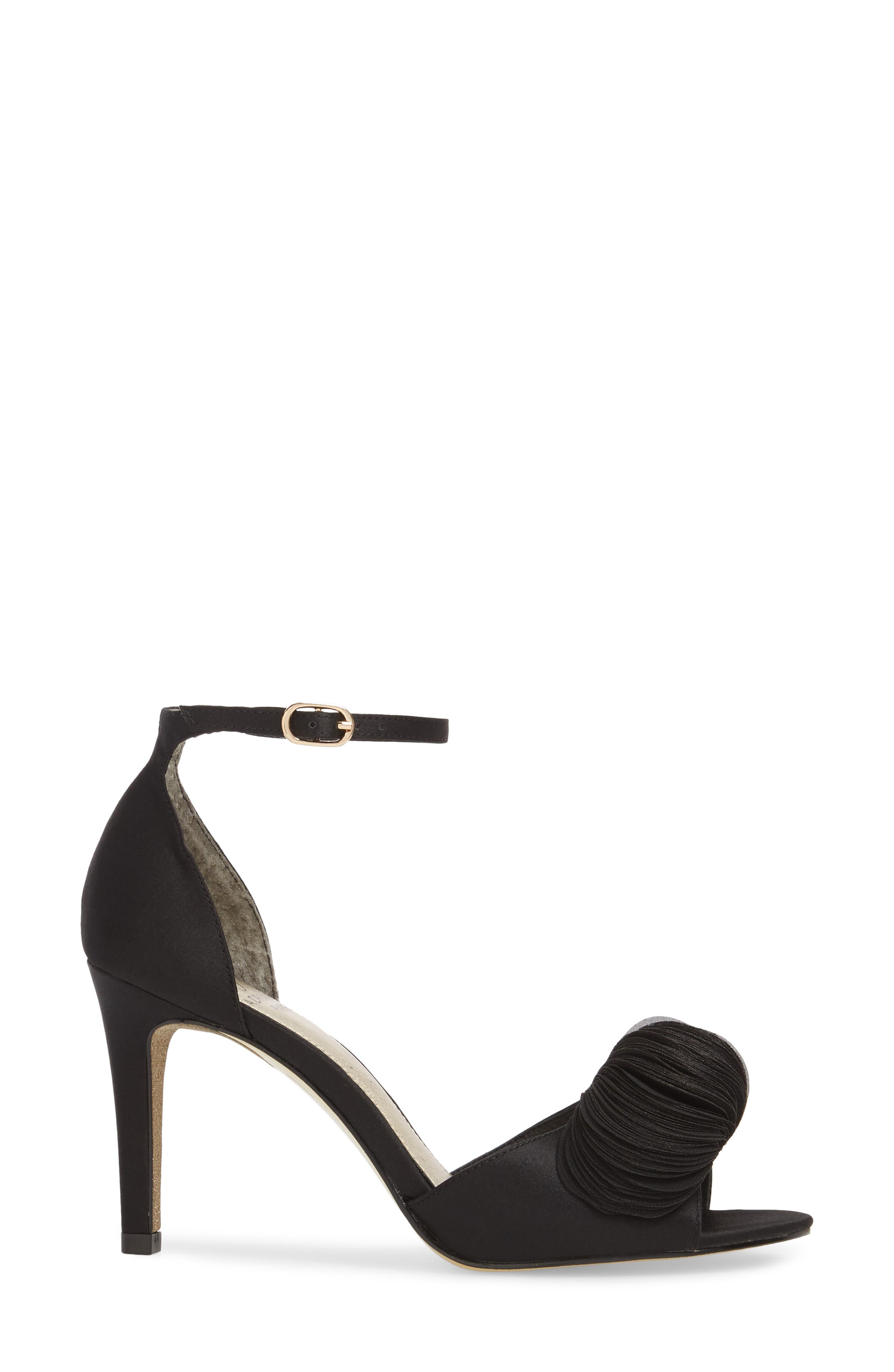 Gracie Ankle Strap Sandal,                             Alternate thumbnail 3, color,                             BLACK FABRIC