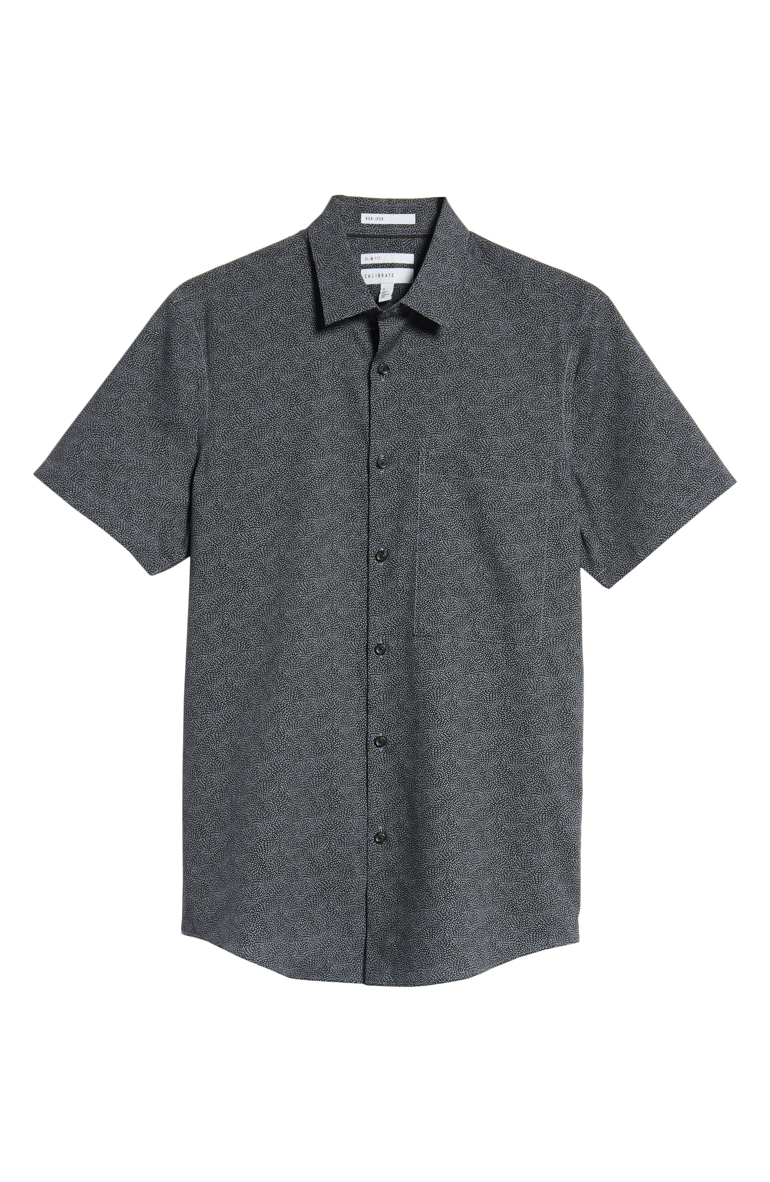 Slim Fit Print Non-Iron Sport Shirt,                             Alternate thumbnail 6, color,                             GREY FOLKSTONE BLACK DOT