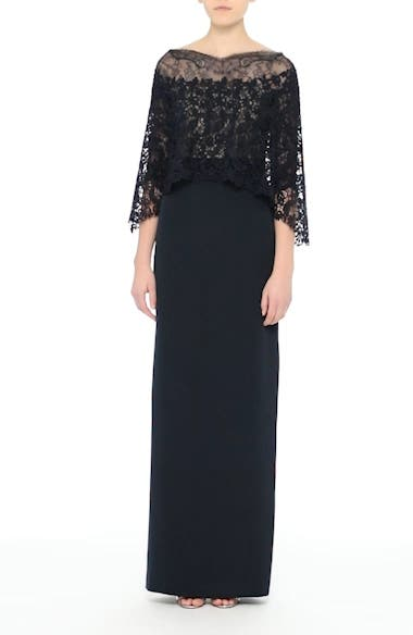 Column Gown with Integrated Lace Capelet, video thumbnail