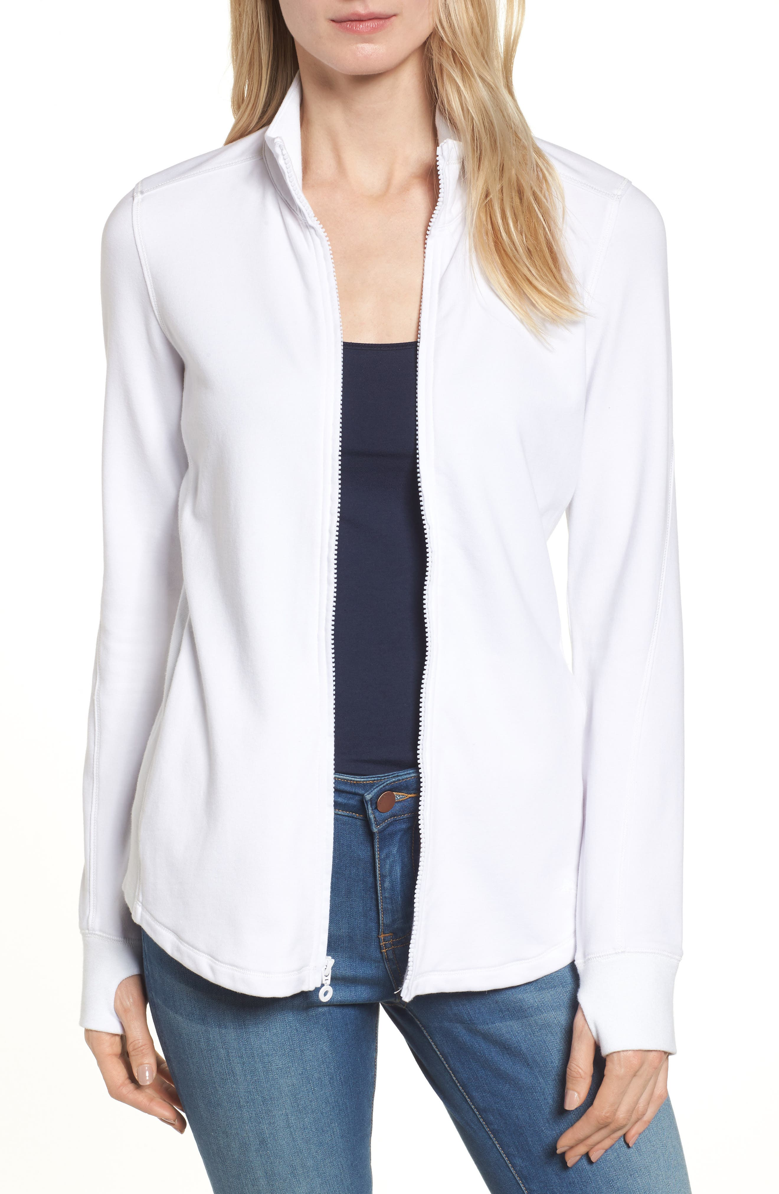 Jen and Terry Full Zip Top,                         Main,                         color, WHITE