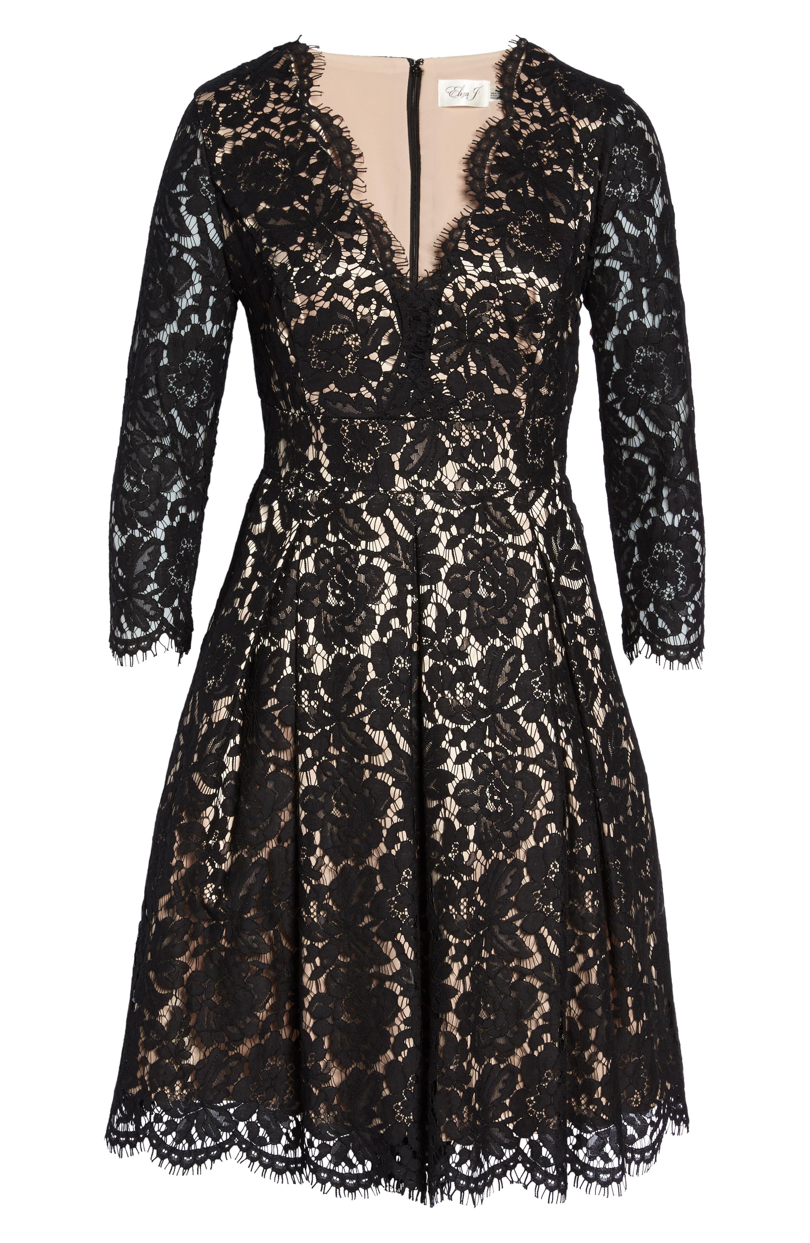 Lace Fit & Flare Dress,                             Alternate thumbnail 6, color,                             001