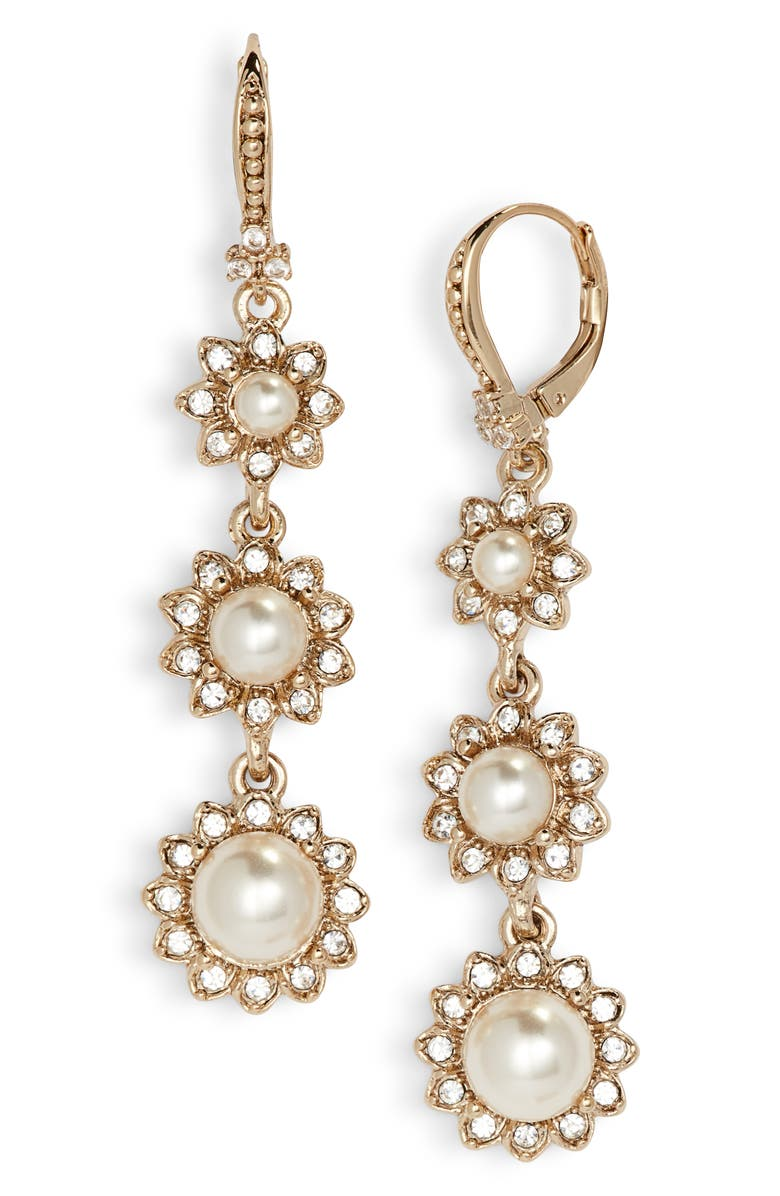 Marchesa CRYSTAL & IMITATION PEARL LINEAR DROP EARRINGS