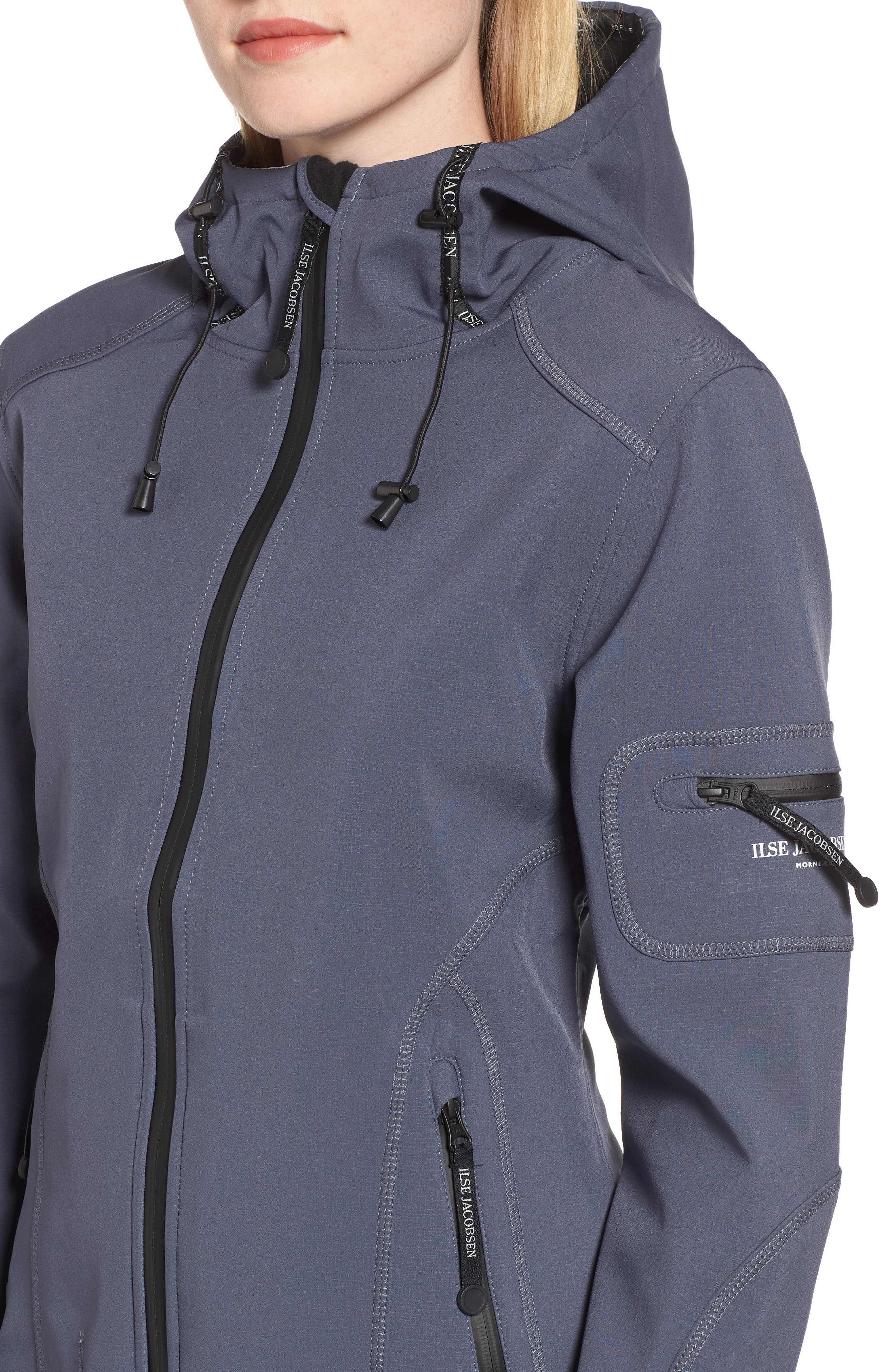 Rain 7 Hooded Water Resistant Coat,                             Alternate thumbnail 4, color,                             BLUE GRAYNESS