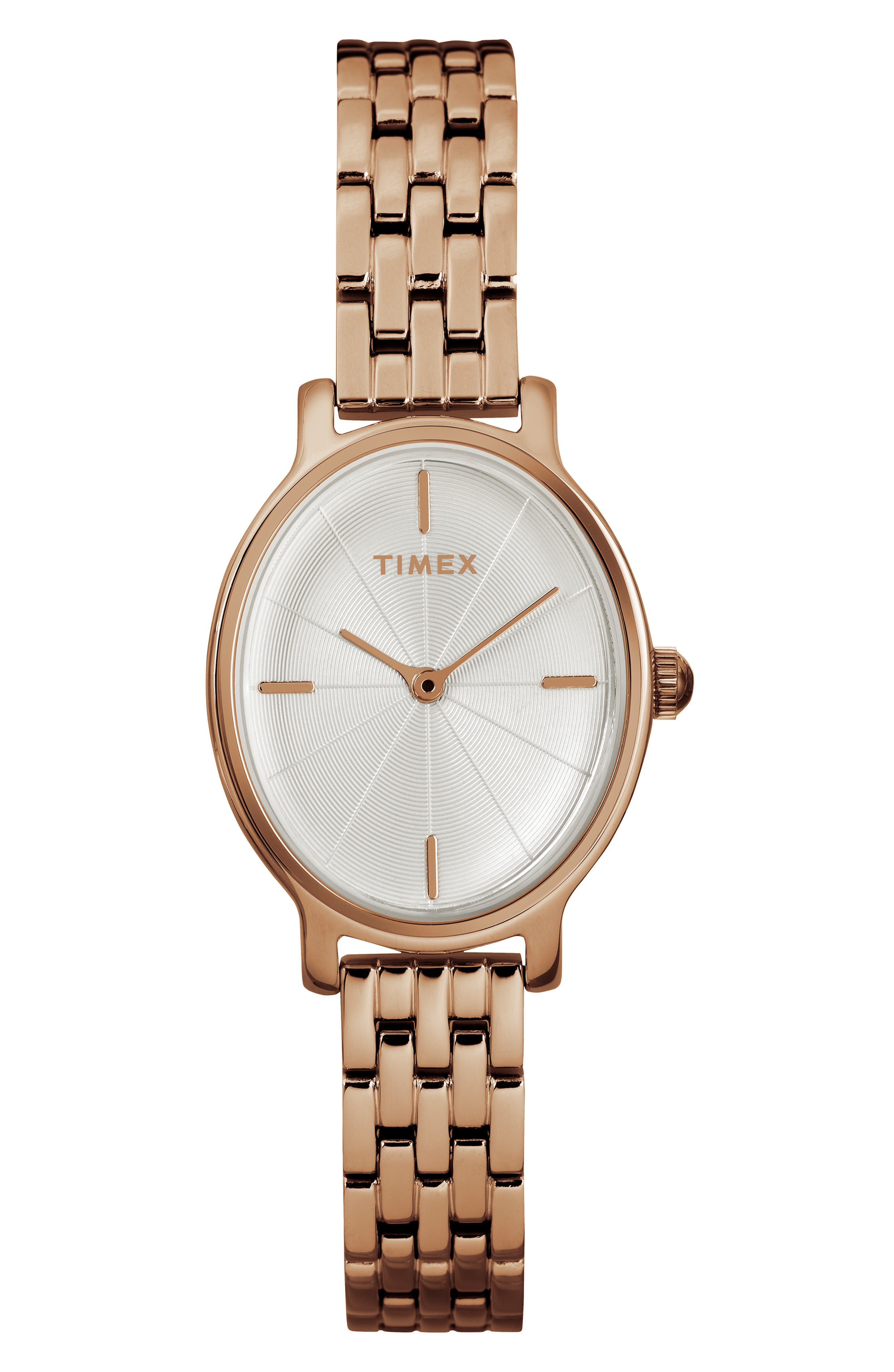 TIMEX<SUP>®</SUP>,                             Milano Oval Bracelet Watch, 24mm,                             Main thumbnail 1, color,                             ROSE GOLD/ SILVER