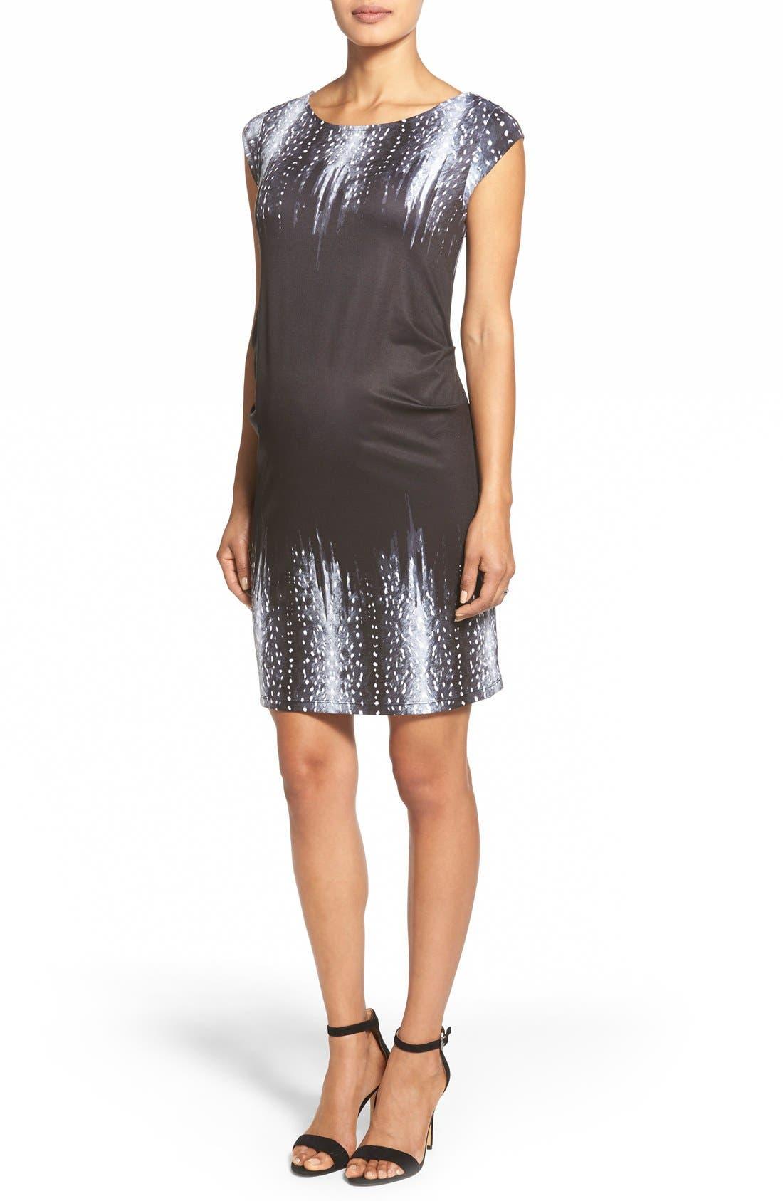'Jillian' Cap Sleeve Maternity Dress,                         Main,                         color, FAWN BORDER