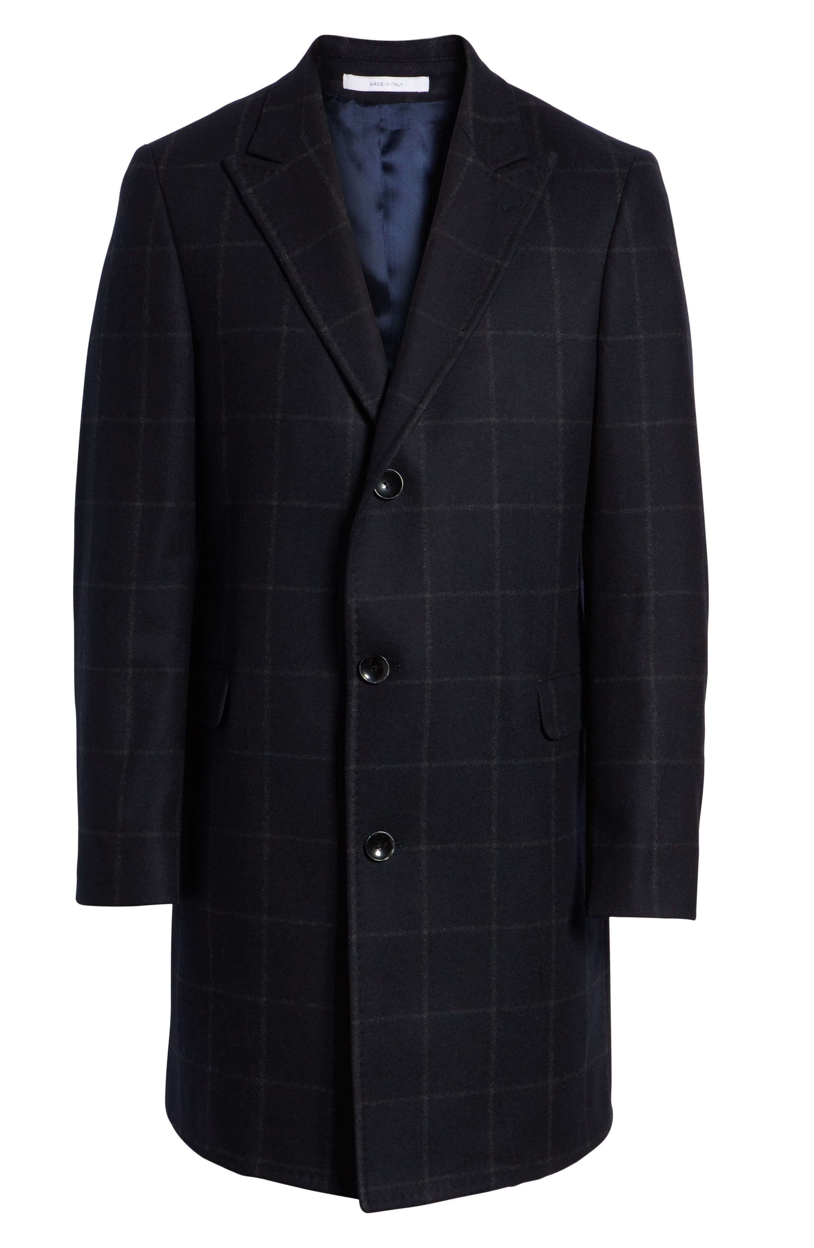 Addison Windowpane Wool Blend Overcoat,                             Alternate thumbnail 6, color,                             NAVY