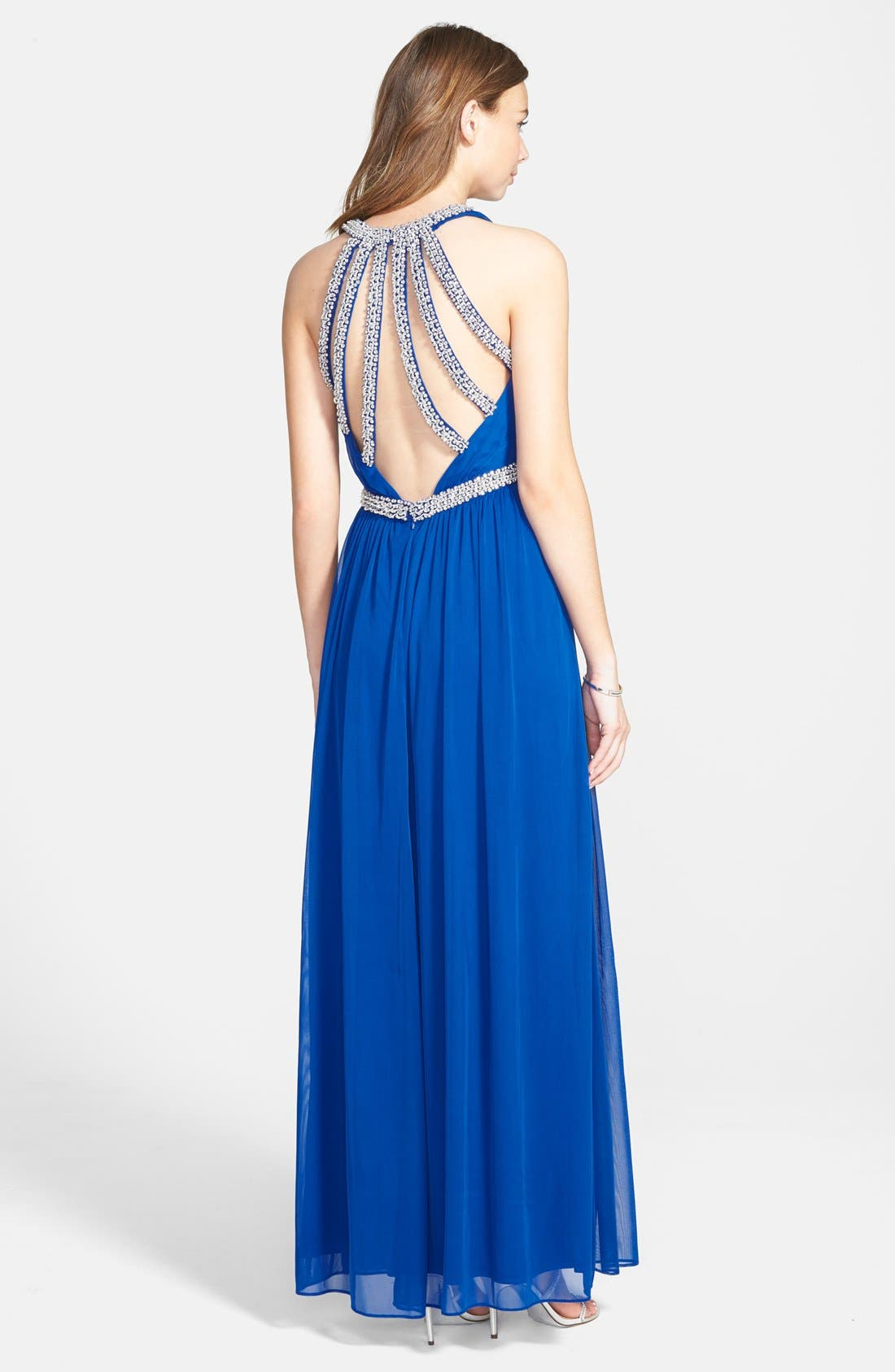 Beaded Jersey Gown,                             Alternate thumbnail 2, color,                             496