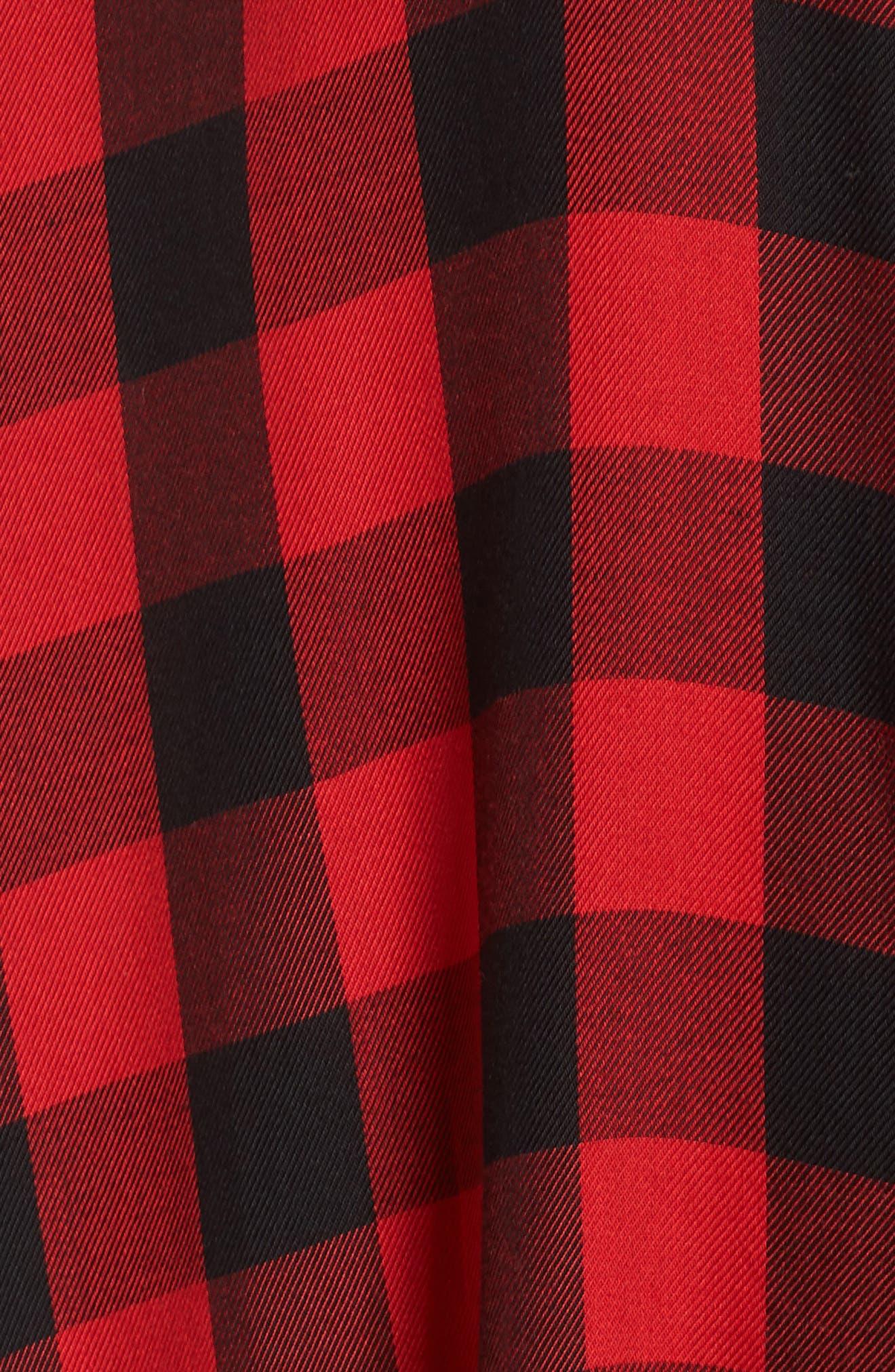 Buffalo Plaid Shirtdress,                             Alternate thumbnail 6, color,                             BRIGHT RED