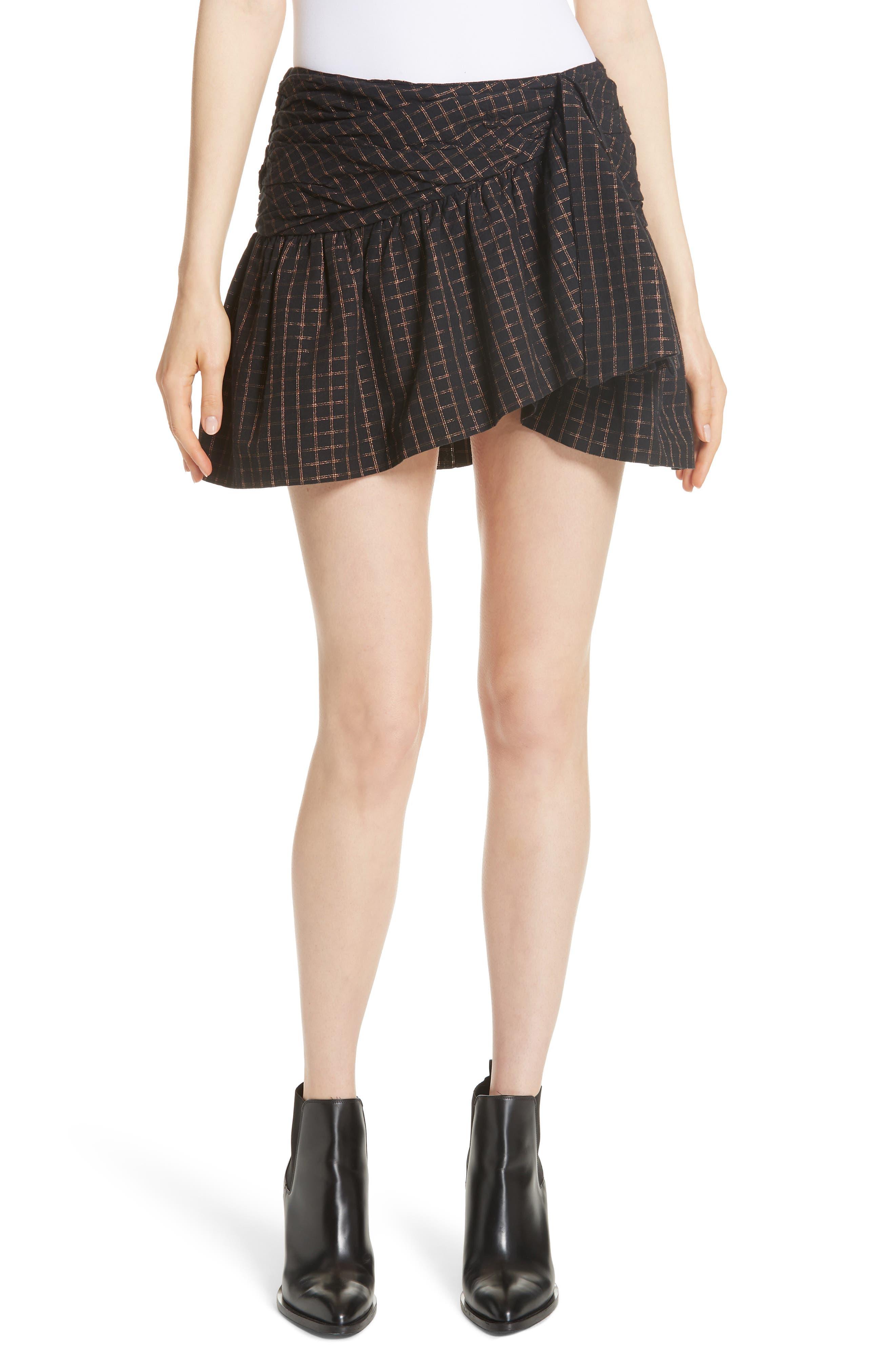Sylvia Faux Wrap Mini Skirt,                         Main,                         color, BLACK