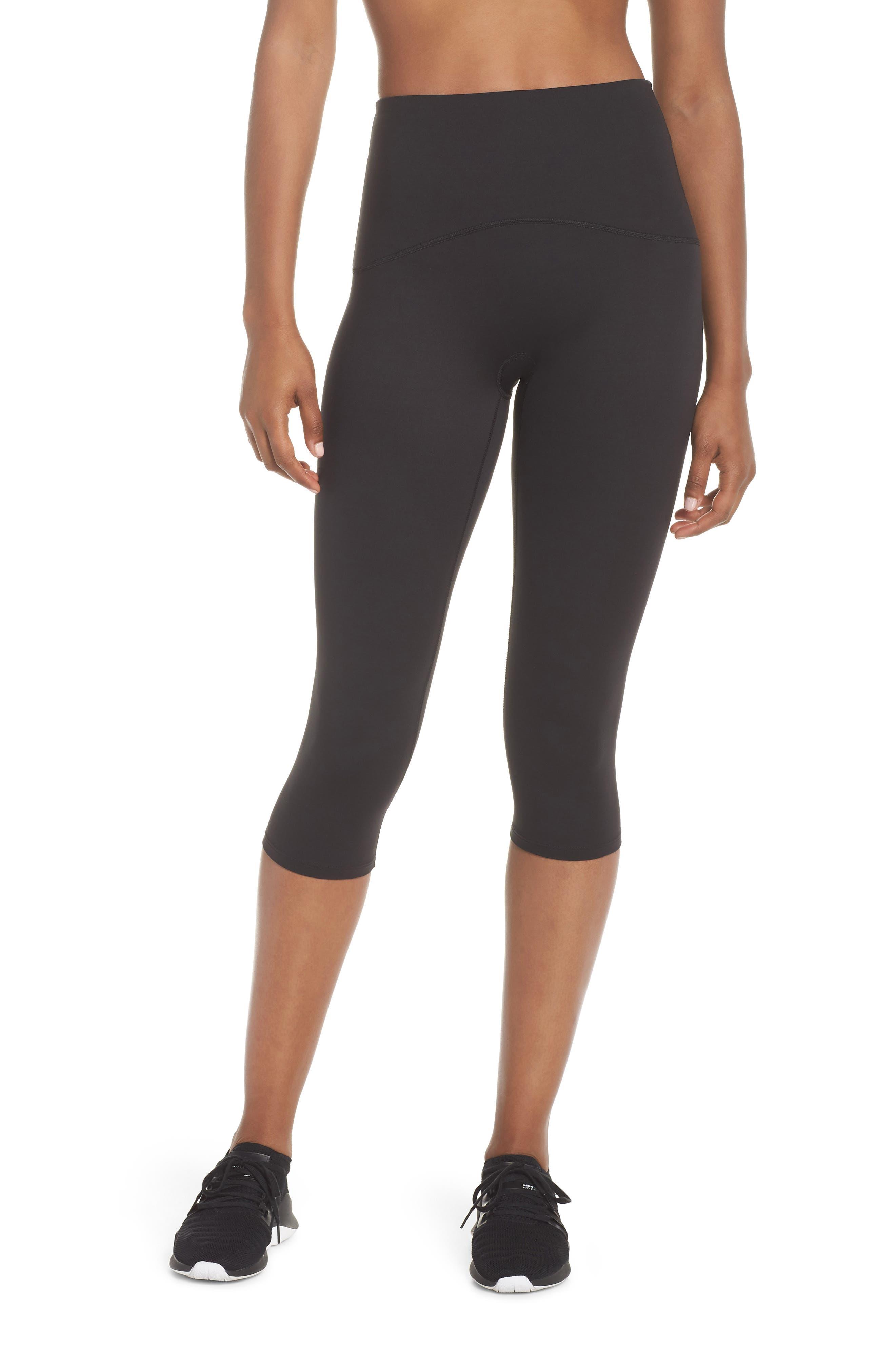 Active Knee-Length Leggings,                         Main,                         color, BLACK