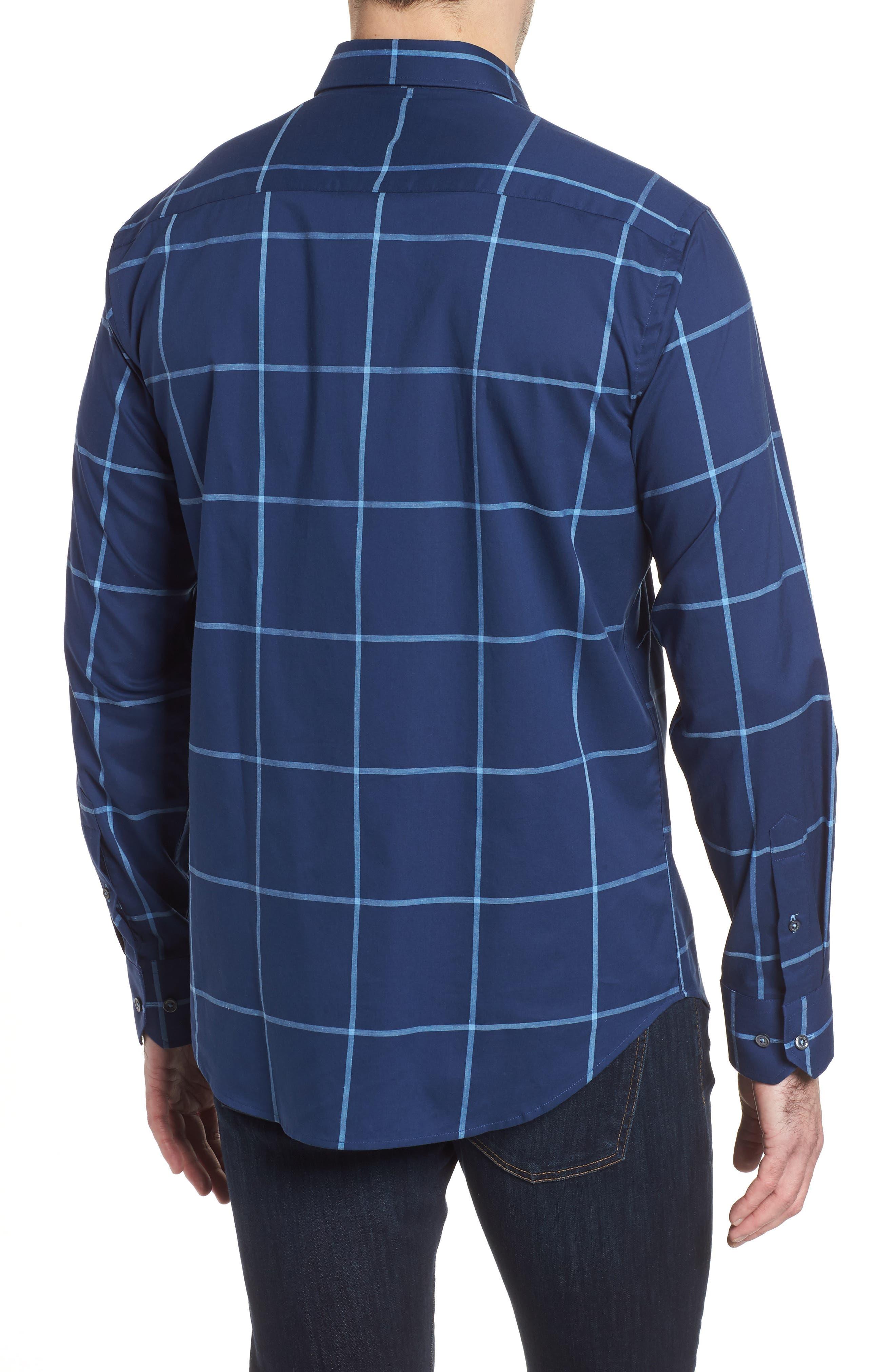 Shaped Fit Windowpane Plaid Sport Shirt,                             Alternate thumbnail 2, color,                             411