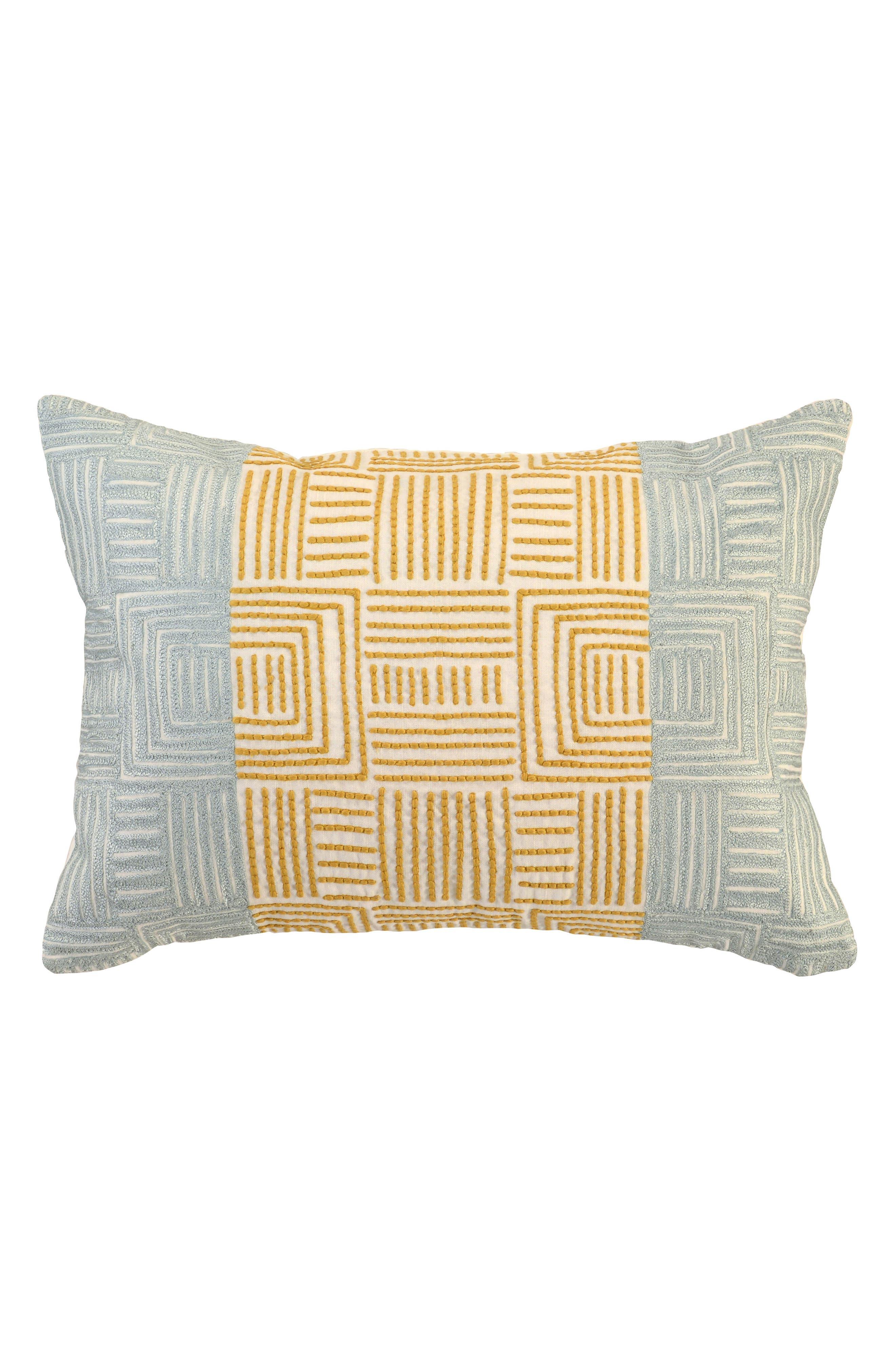 Dixon Ocre Tidal Accent Pillow,                             Main thumbnail 1, color,                             SEAGLASS/ YELLOW